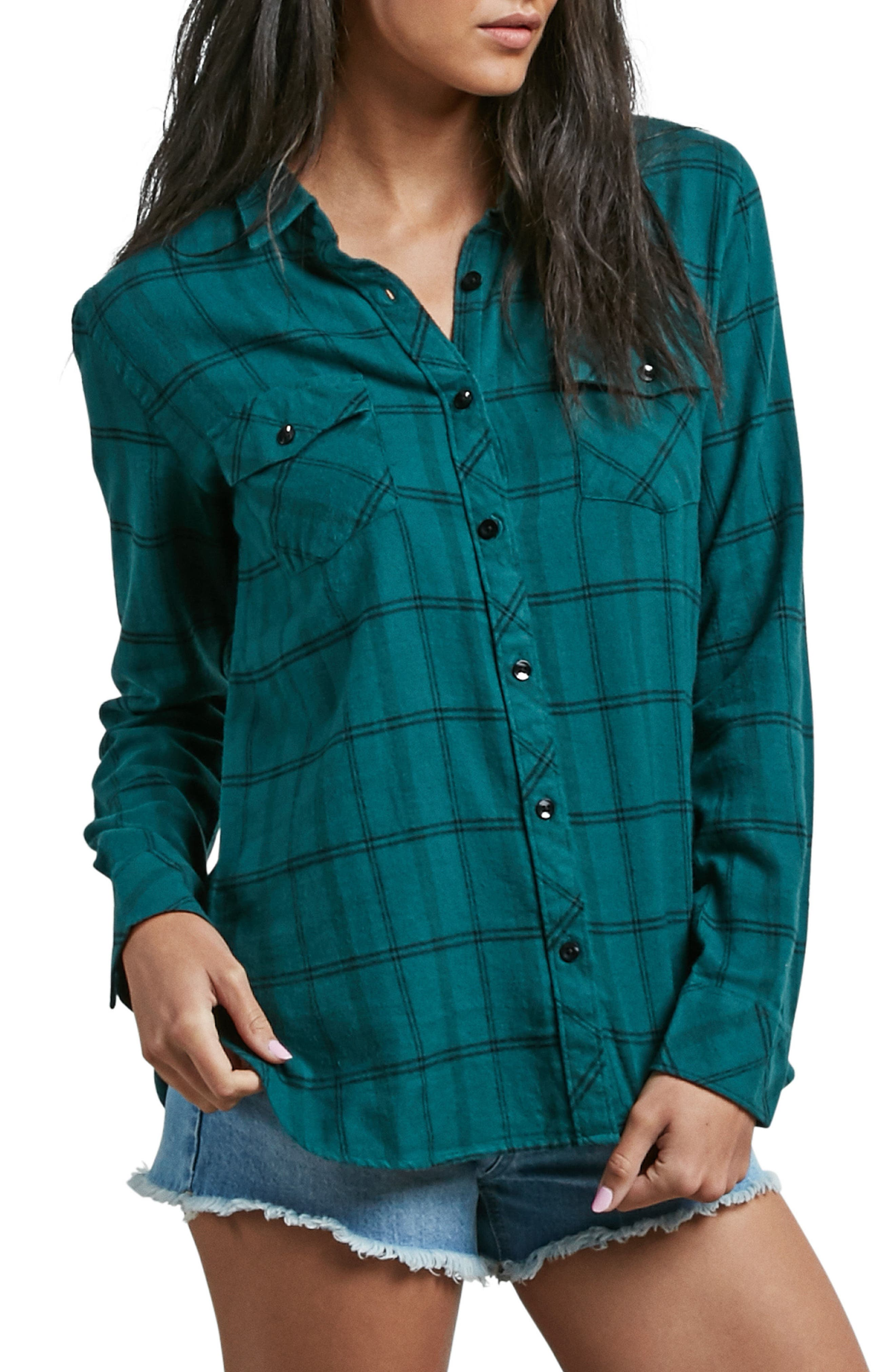 Street Dreaming Plaid Cotton Shirt,                         Main,                         color, Green Mild