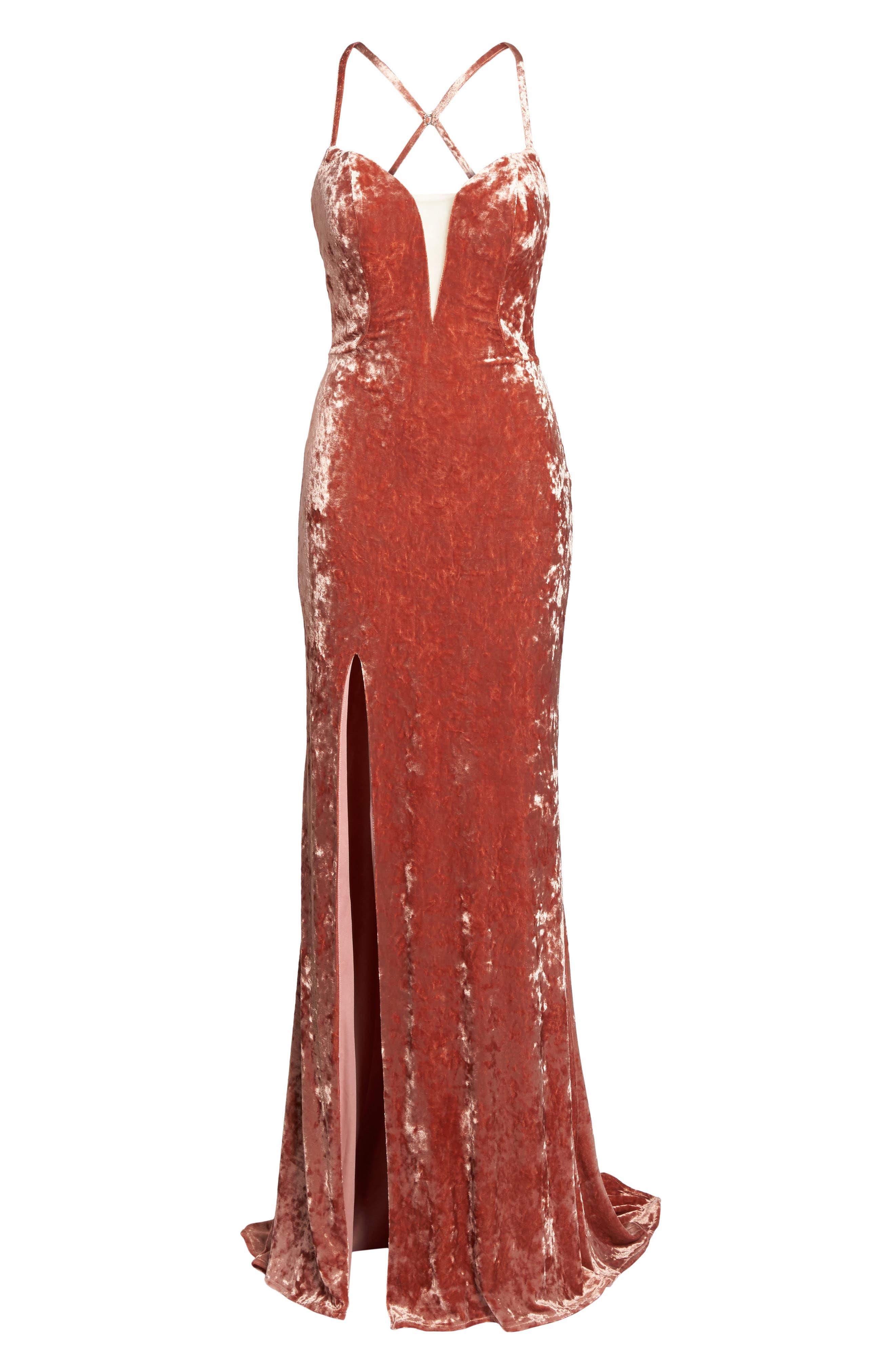 Crushed Velvet Sheath Gown,                             Alternate thumbnail 6, color,                             Blush