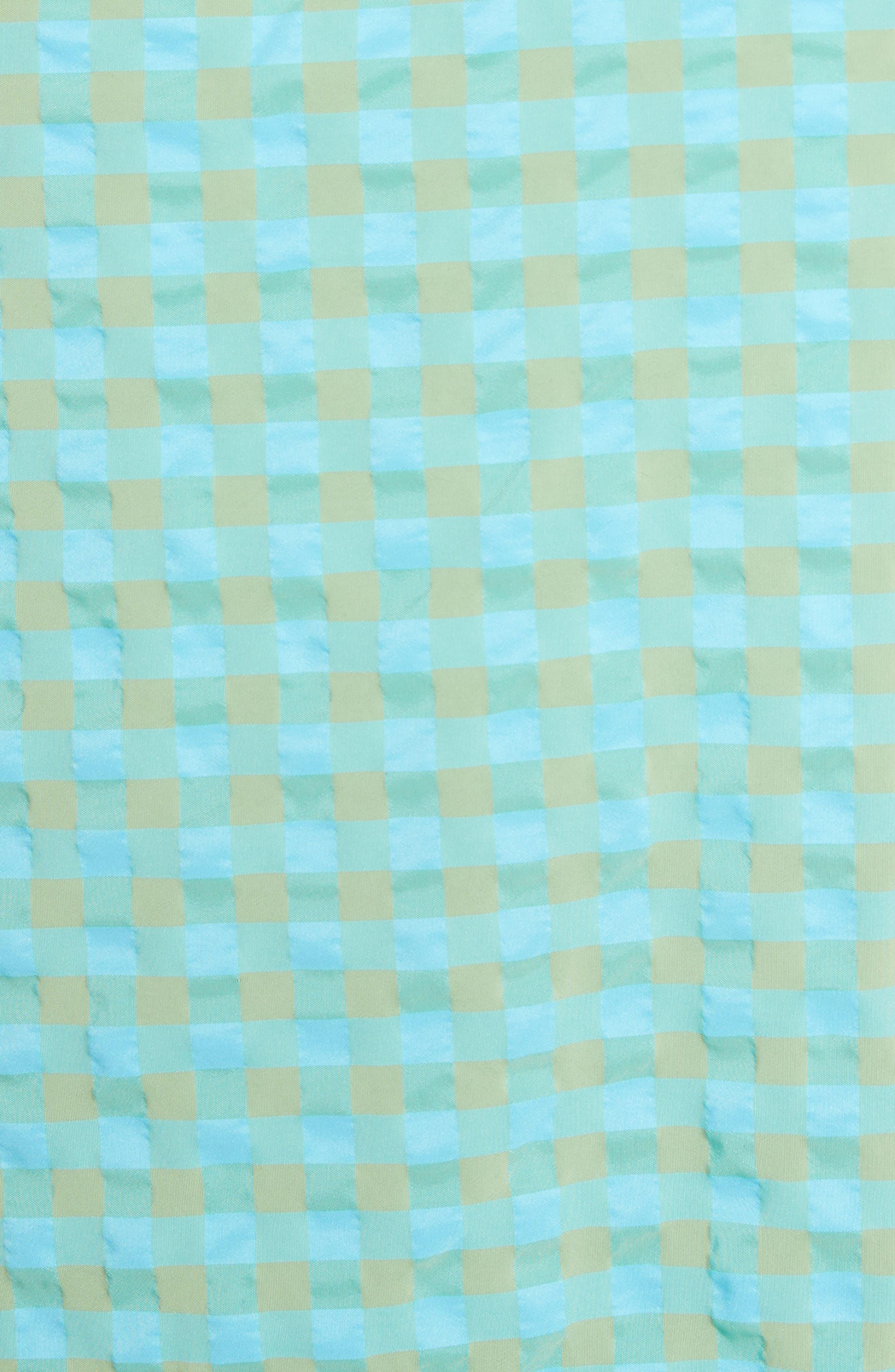 Marques'Almeida Long Asymmetrical Frill Skirt,                             Alternate thumbnail 5, color,                             Turquoise Gingham