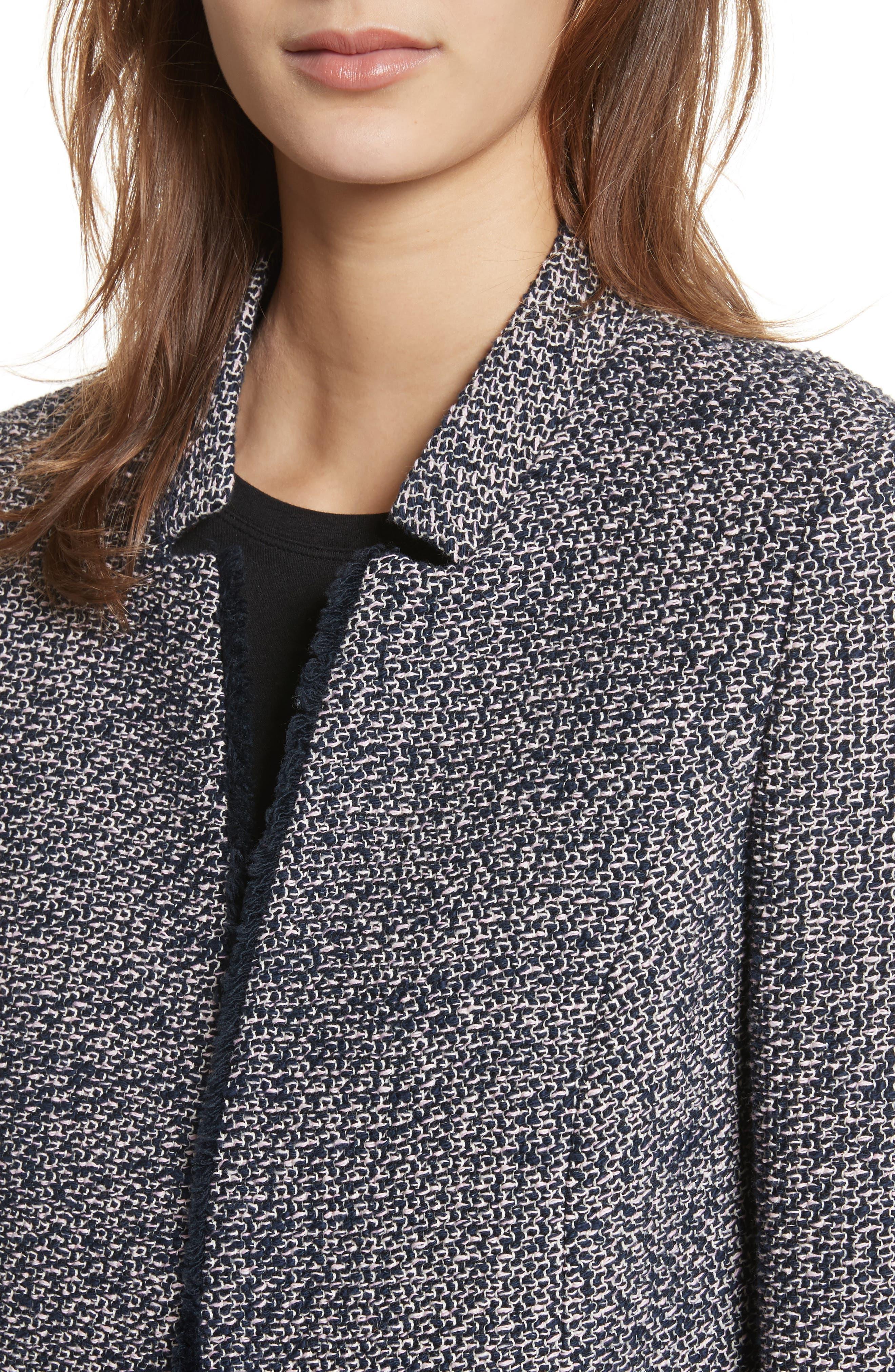 Notch Collar Tweed Jacket,                             Alternate thumbnail 4, color,                             Navy/ Pink