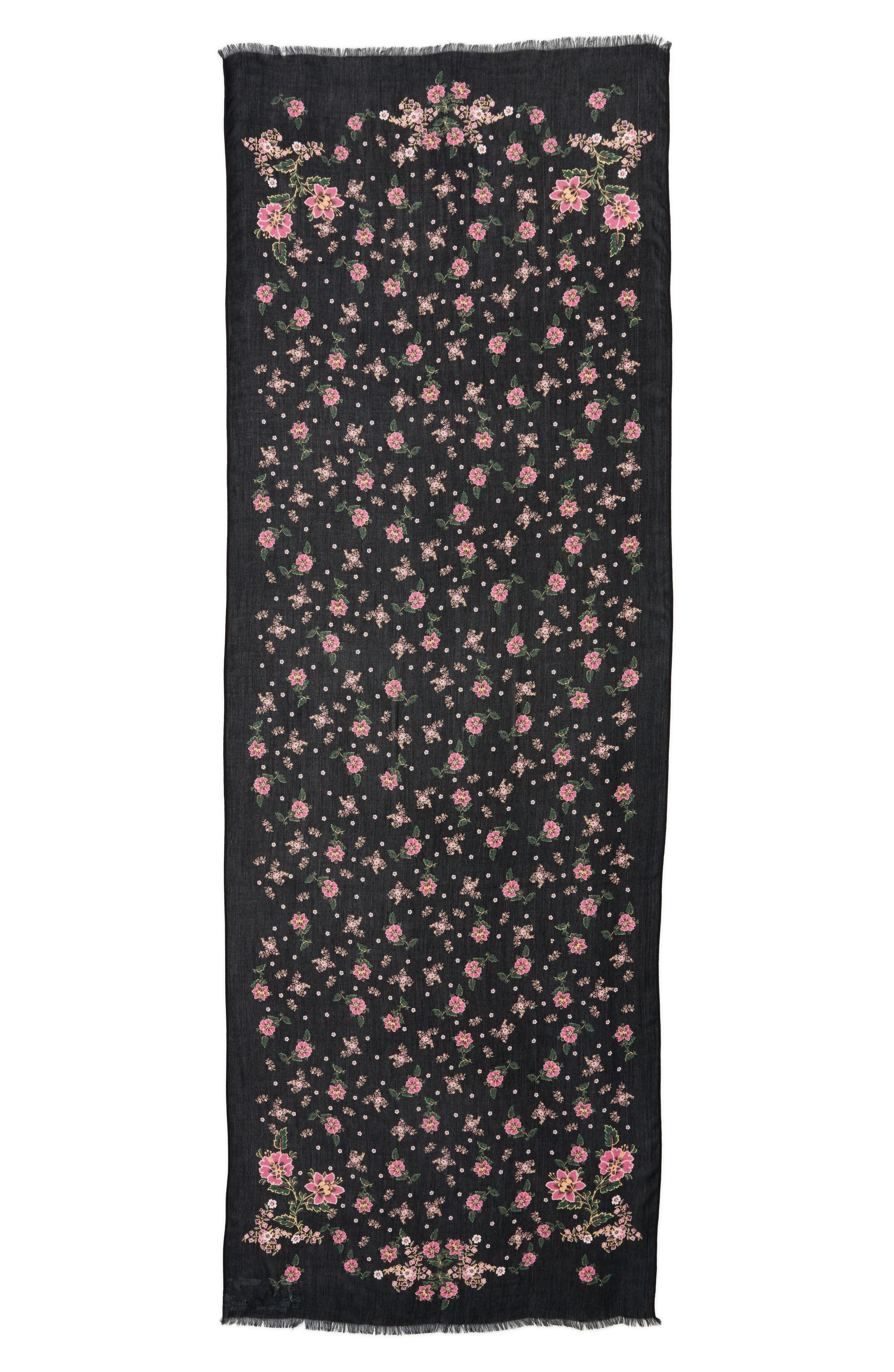 Mixed Floral Oblong Scarf,                             Alternate thumbnail 3, color,                             Black