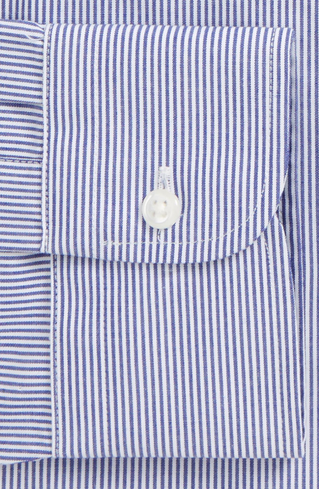 Classic Fit Non-Iron Stripe Dress Shirt,                             Alternate thumbnail 5, color,                             Navy Dusk