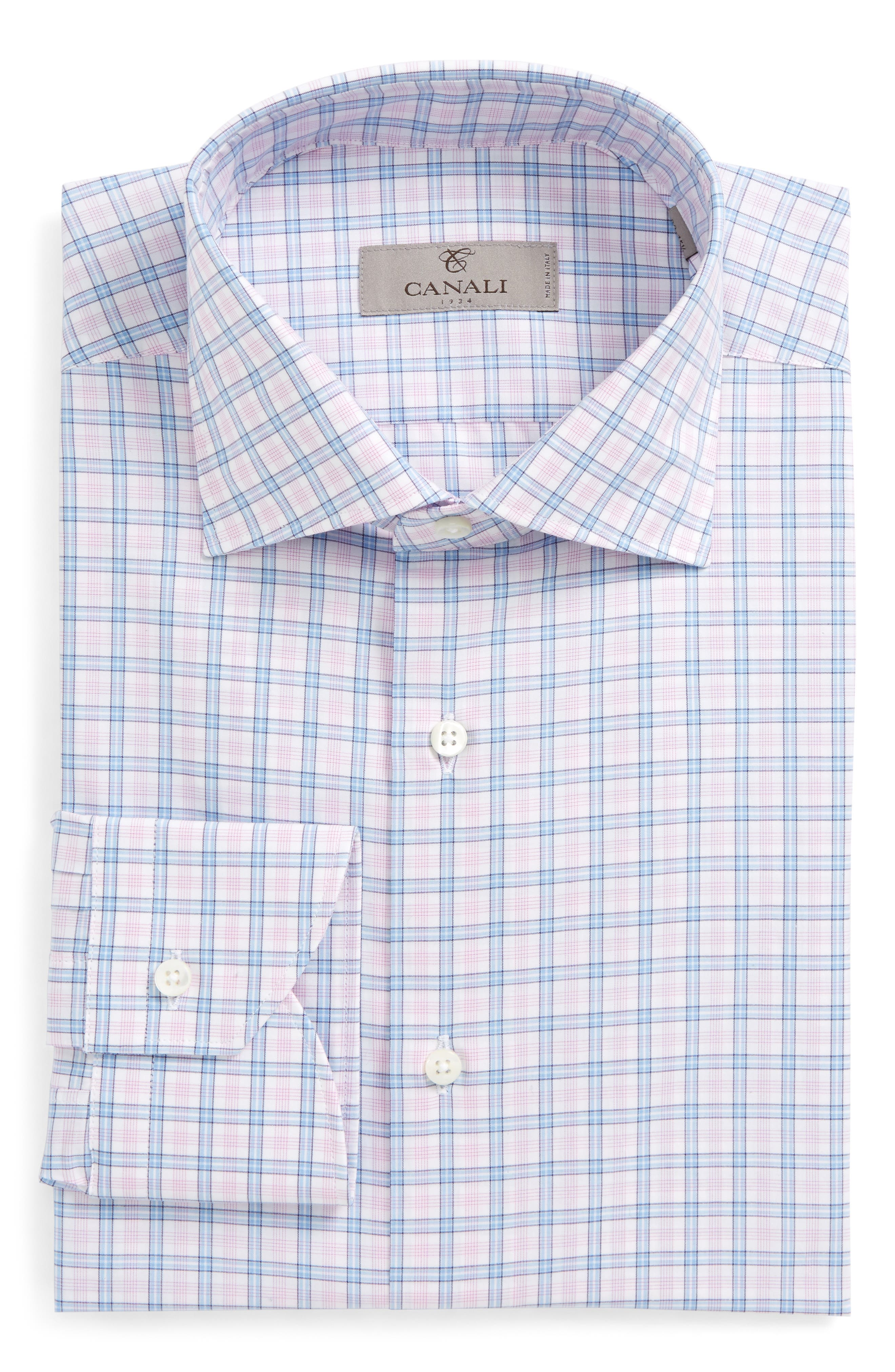 Regular Fit Plaid Dress Shirt,                             Main thumbnail 1, color,                             Pink