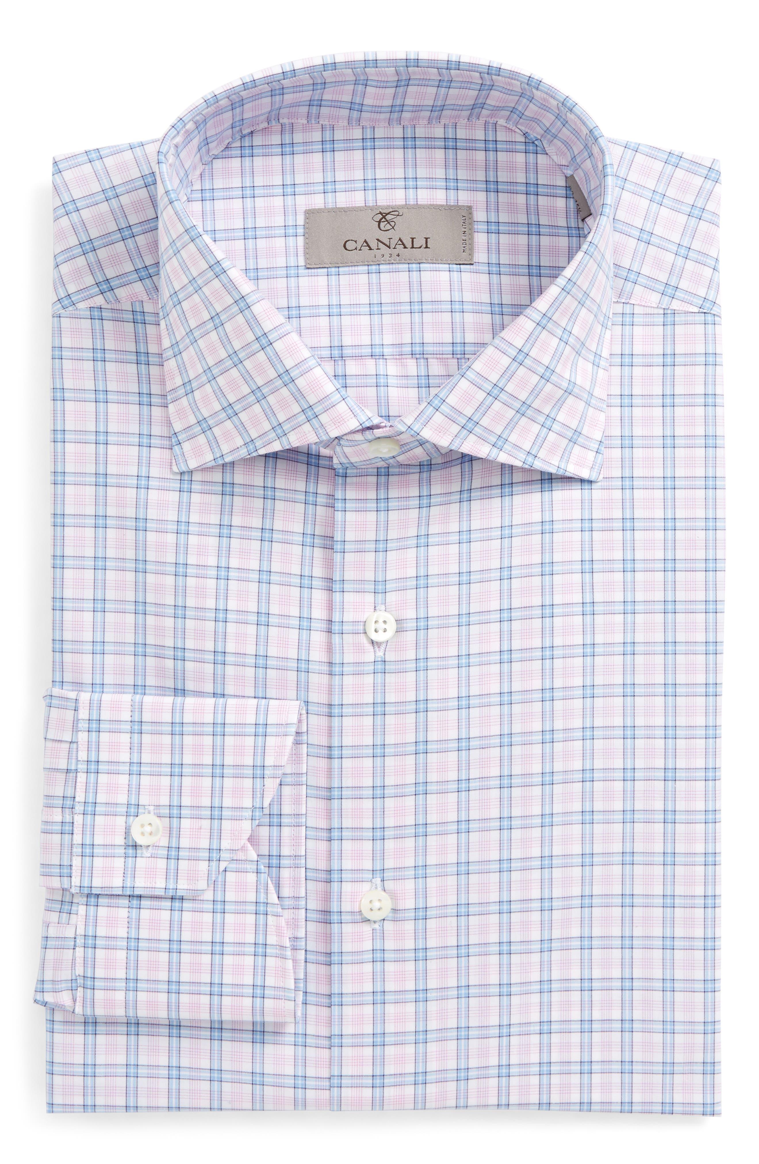 Regular Fit Plaid Dress Shirt,                         Main,                         color, Pink