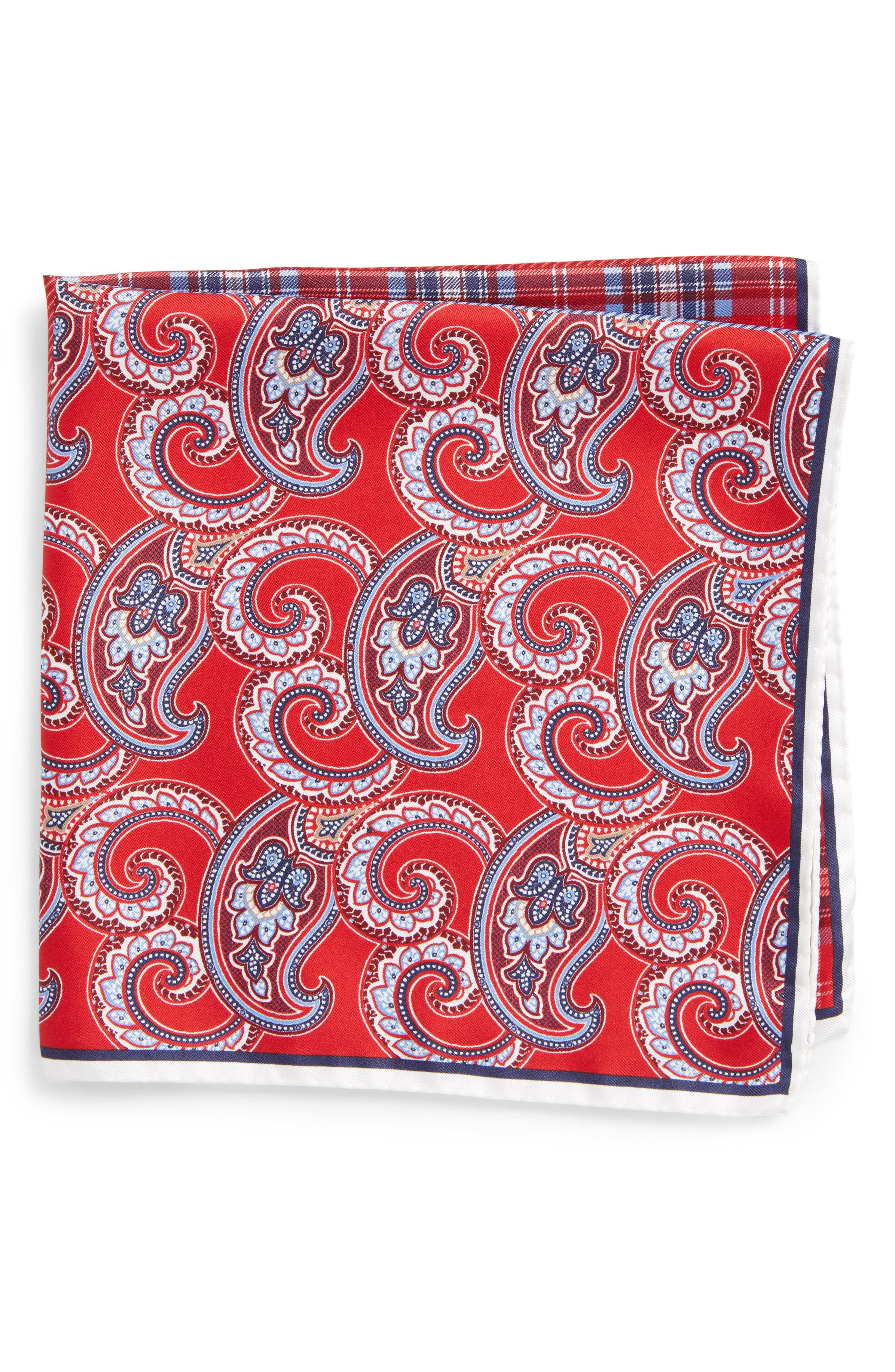 Four Panel Silk Pocket Square,                             Main thumbnail 1, color,                             Red