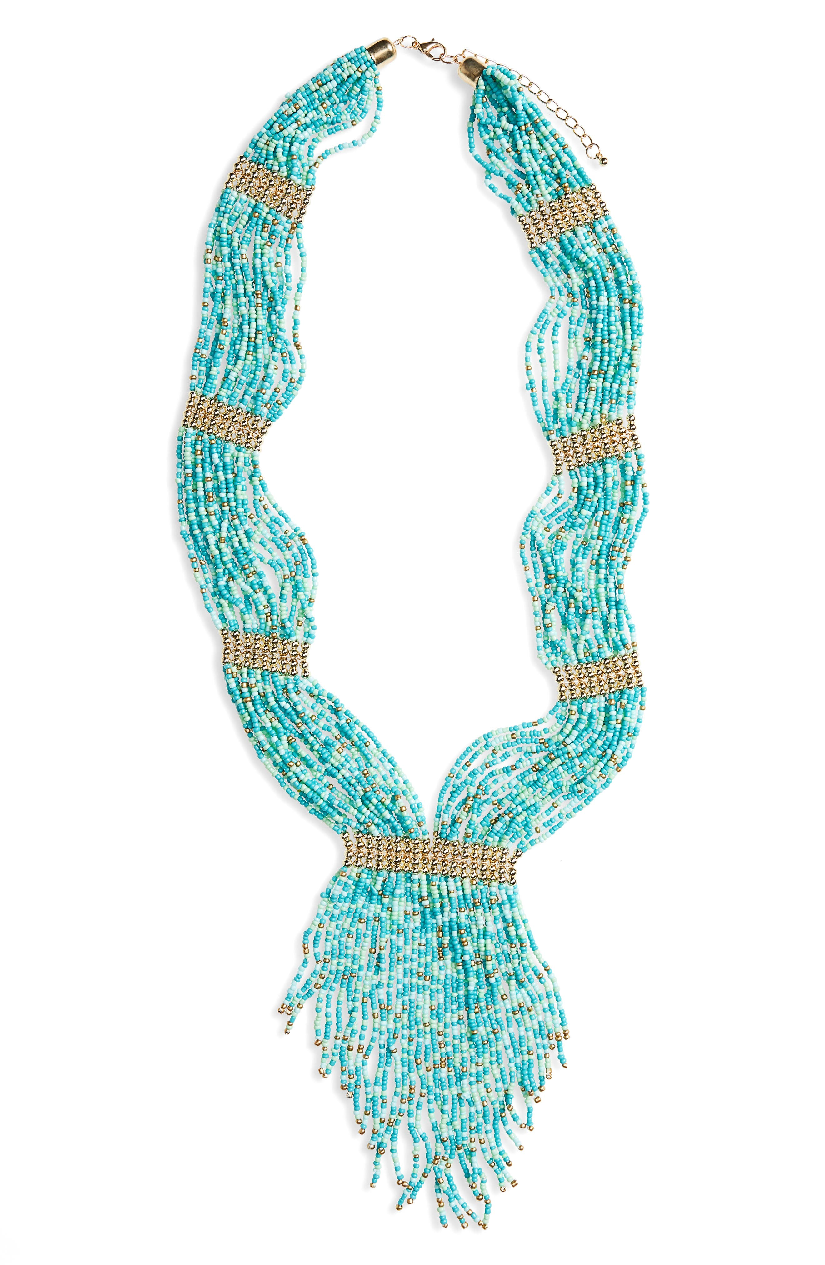 Bead Statement Necklace,                         Main,                         color, Turquoise