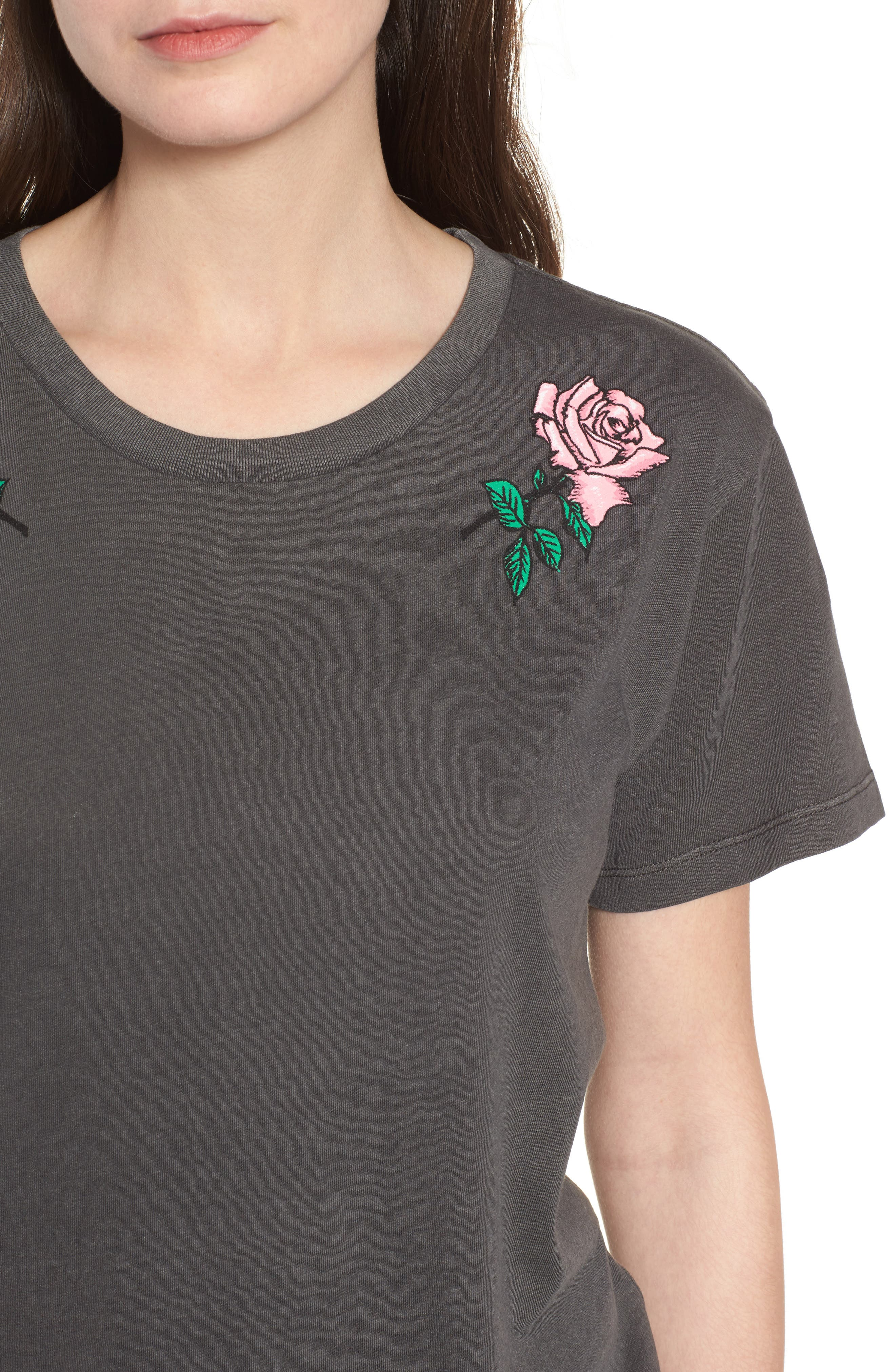 Boyfriend Graphic Tee,                             Alternate thumbnail 4, color,                             Rose Washed Black