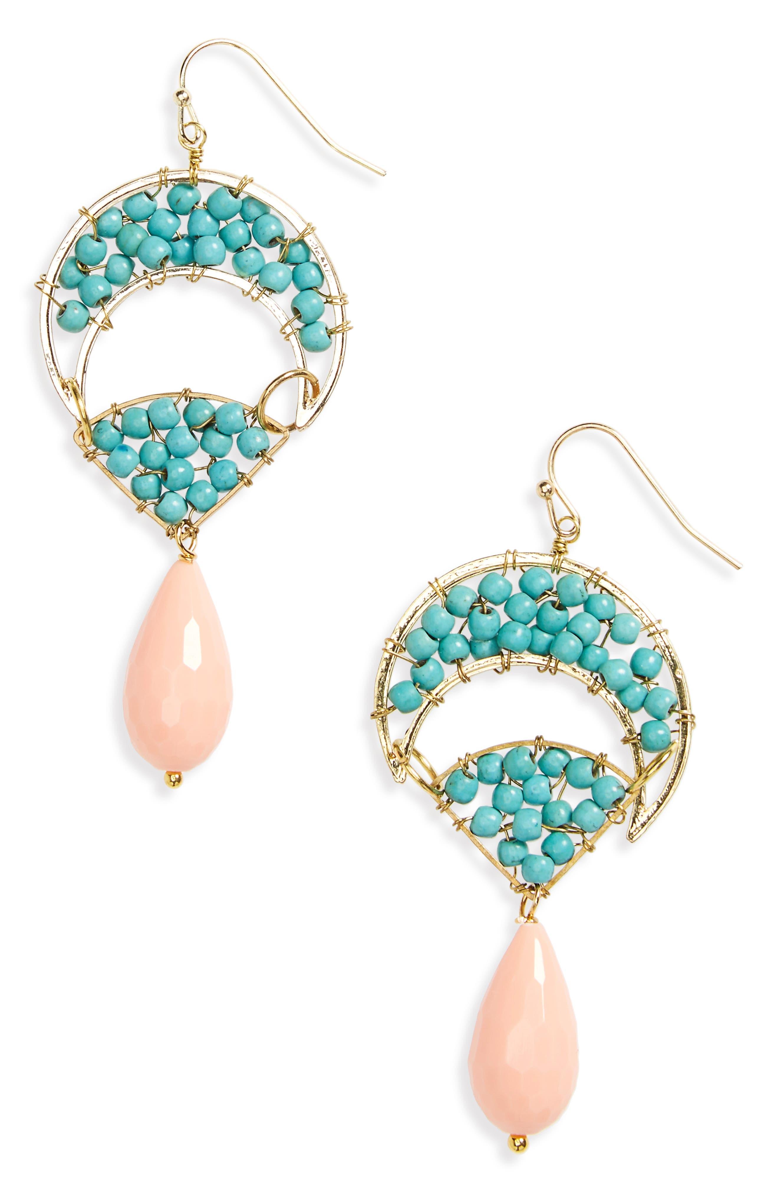 Beaded Howlite Stone Drop Earrings,                             Main thumbnail 1, color,                             Multi
