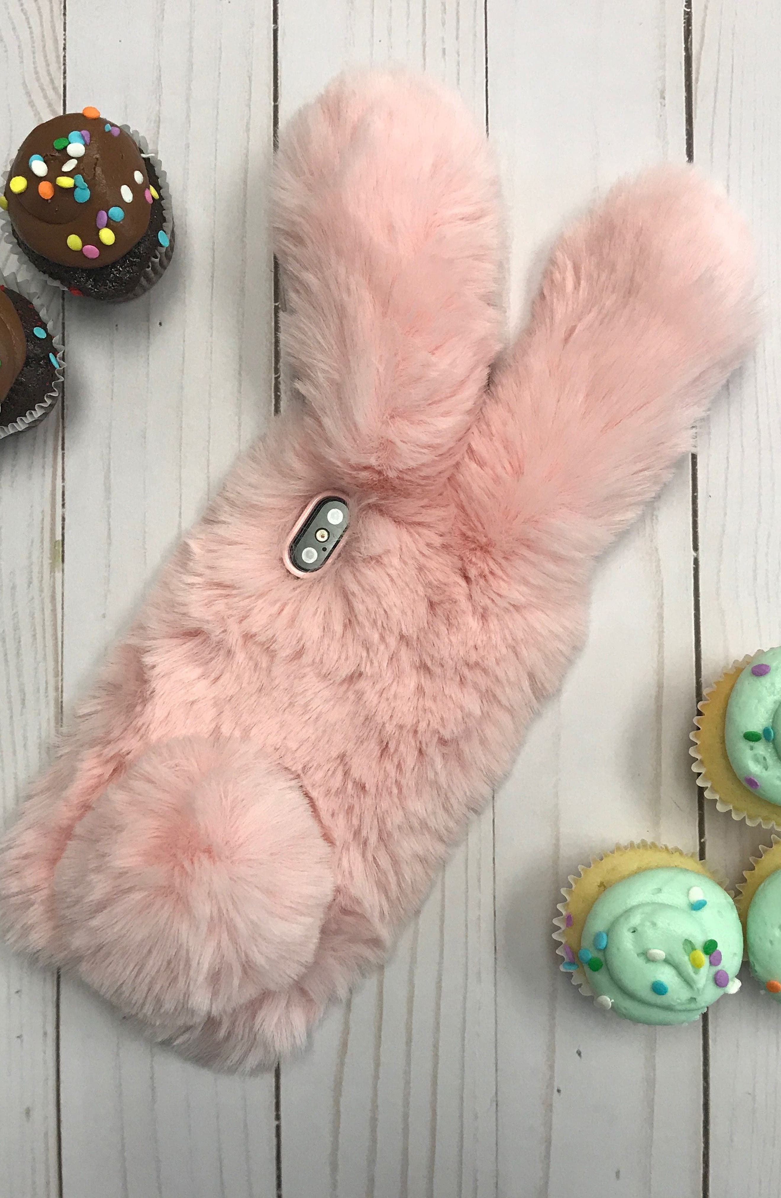Alternate Image 5  - candywirez Bunny Faux Fur iPhone X Case