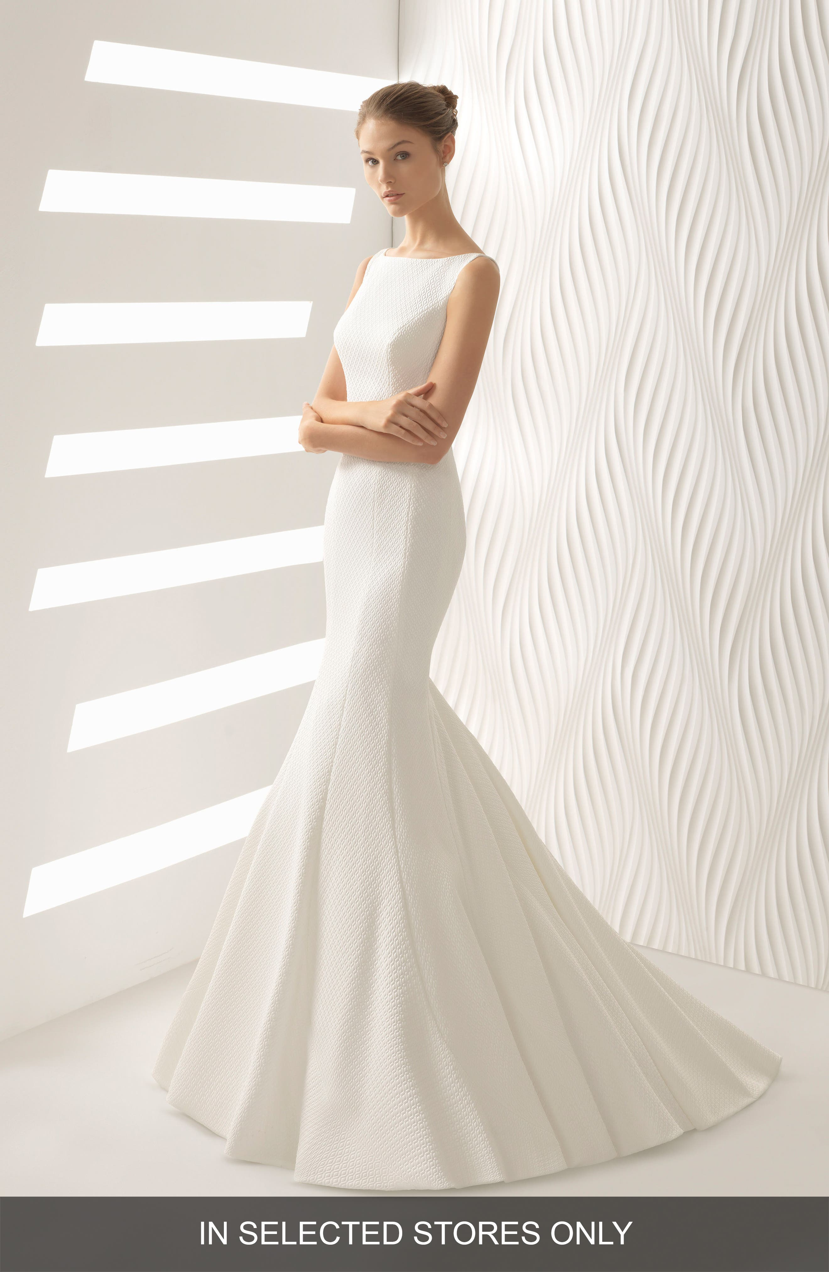 Astral Cloqué Mermaid Gown,                         Main,                         color, Ivory