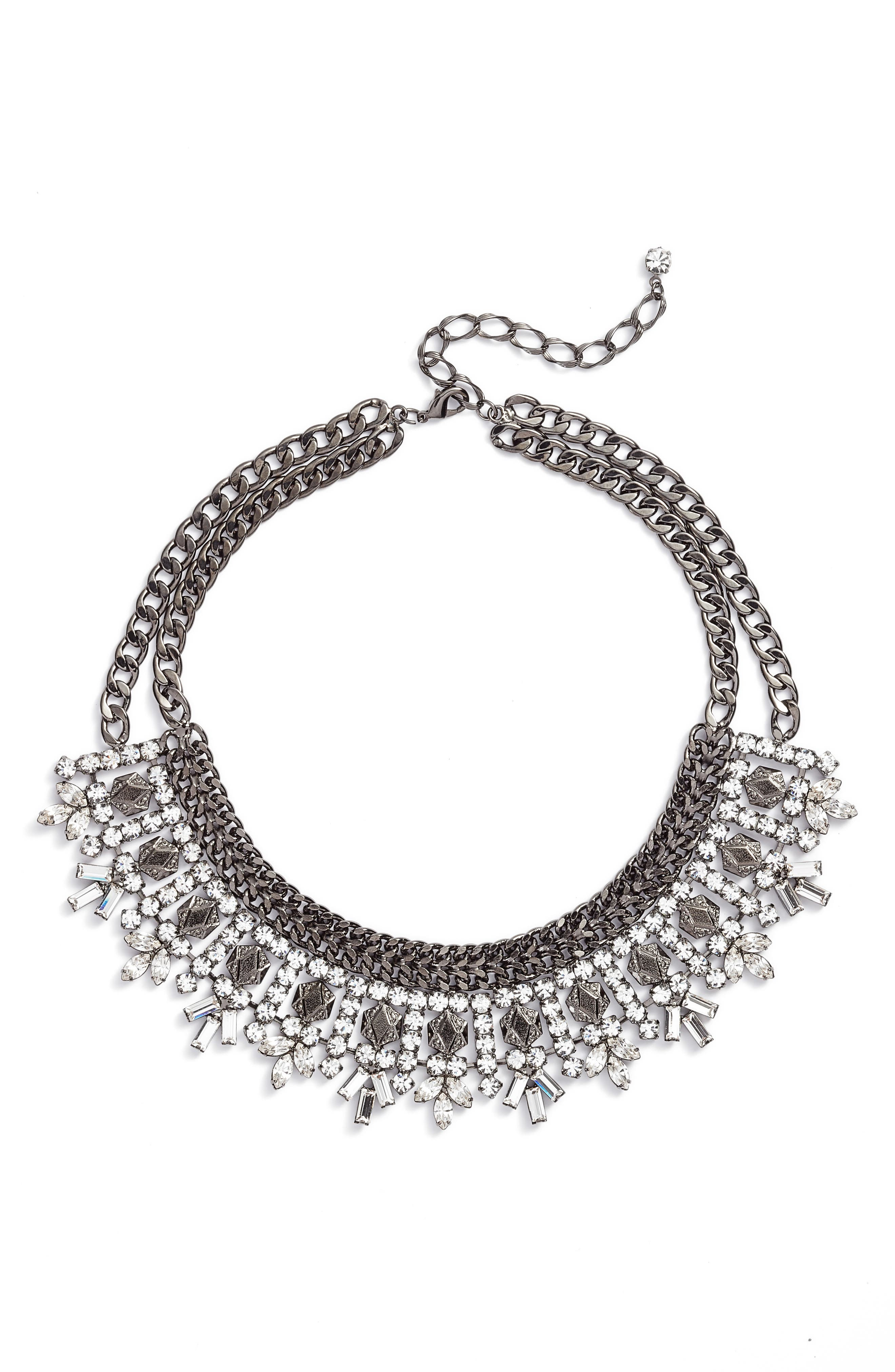 Multistone Curb Chain Frontal Necklace,                         Main,                         color, Crystal/ Hematite