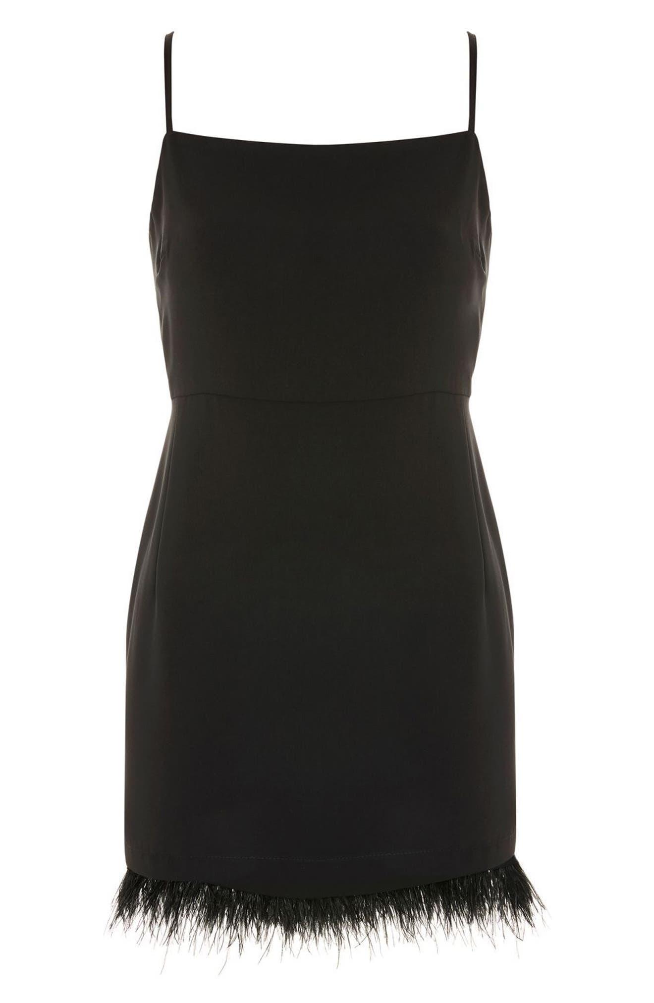 Feather Hem Slip Dress,                             Alternate thumbnail 4, color,                             Black