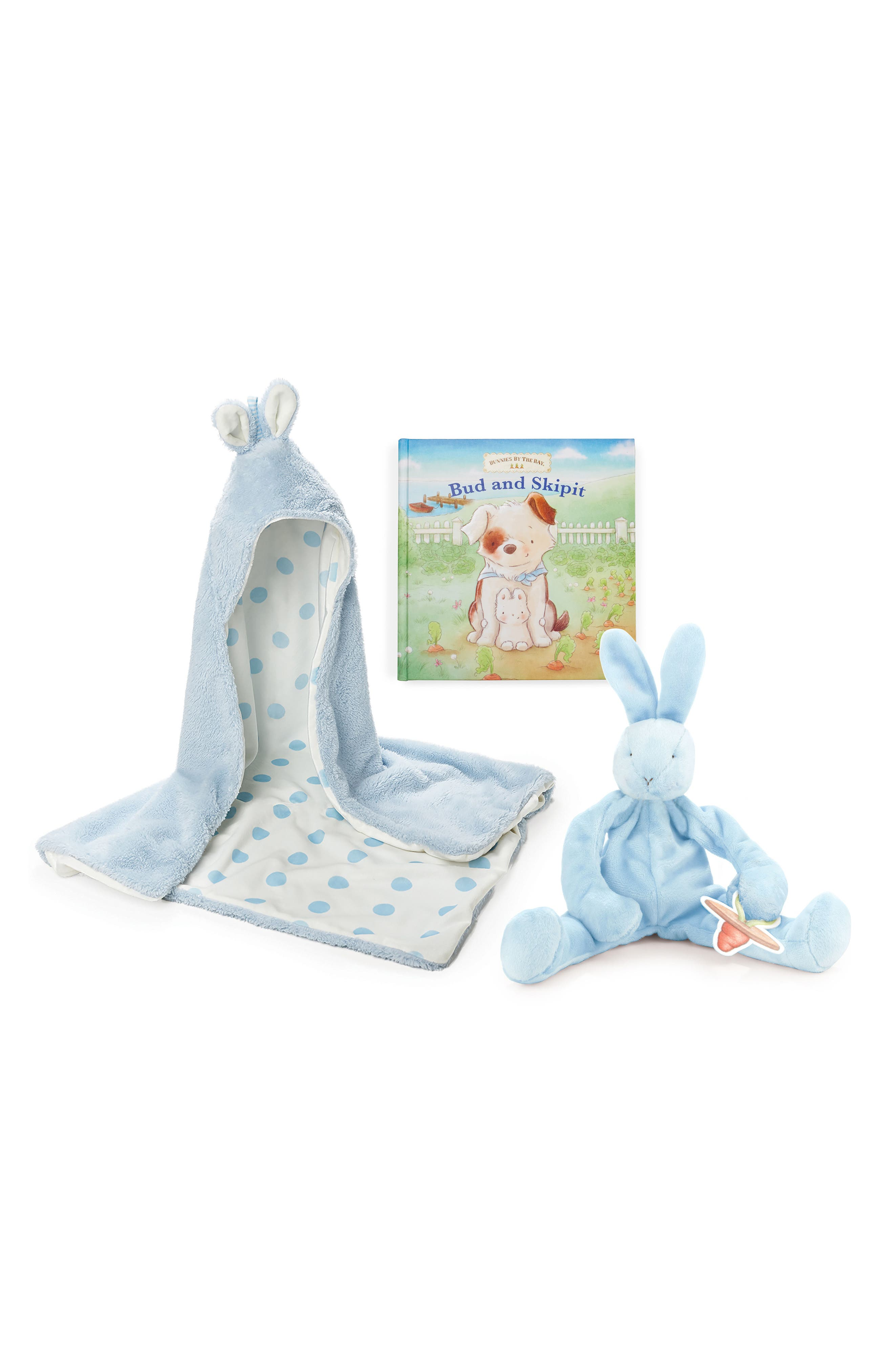 Alternate Image 1 Selected - Bunnies by the Bay Hooded Blanket, Stuffed Animal & Board Book Set