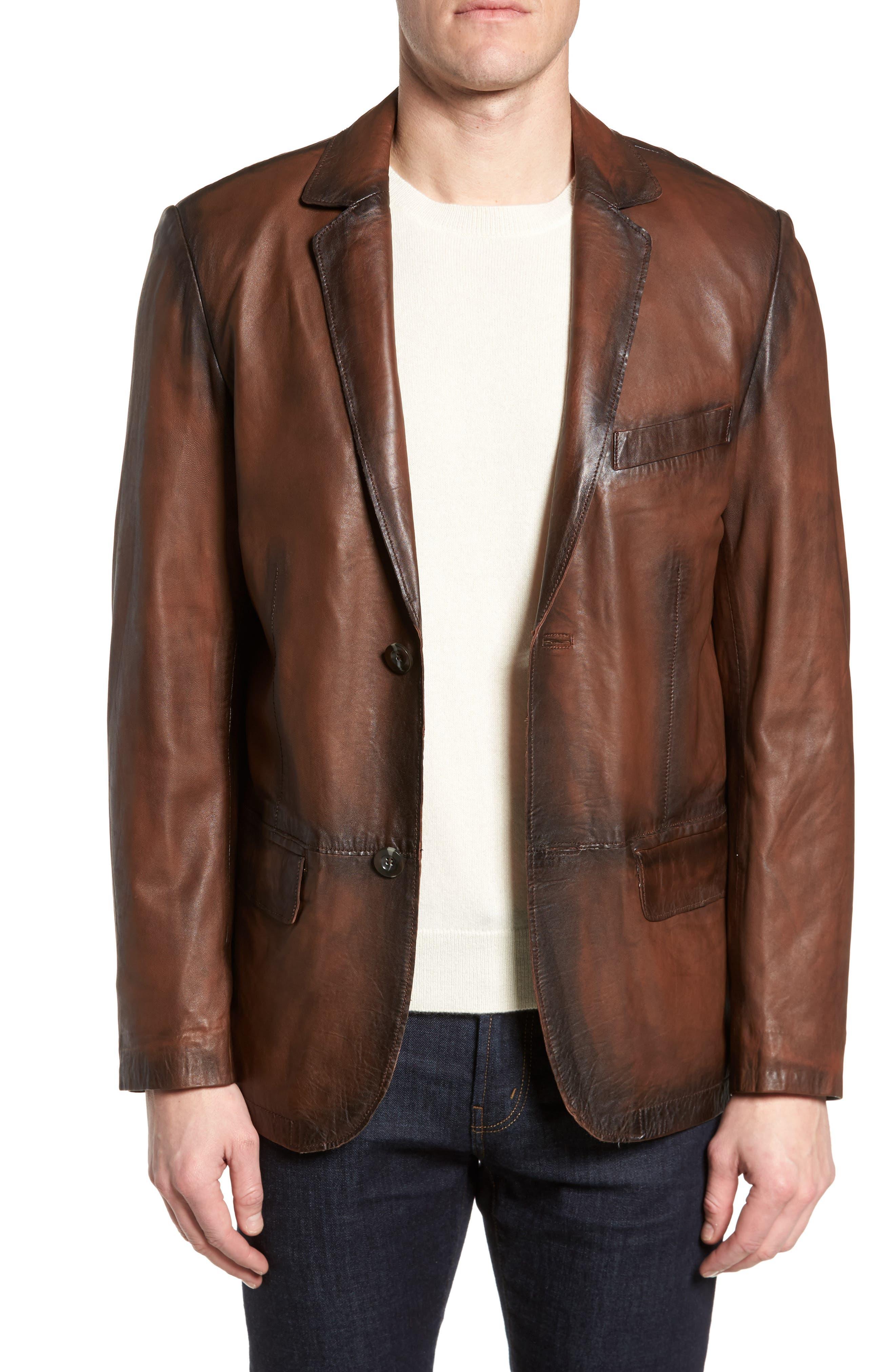 Vintage Leather Blazer,                         Main,                         color, Brown
