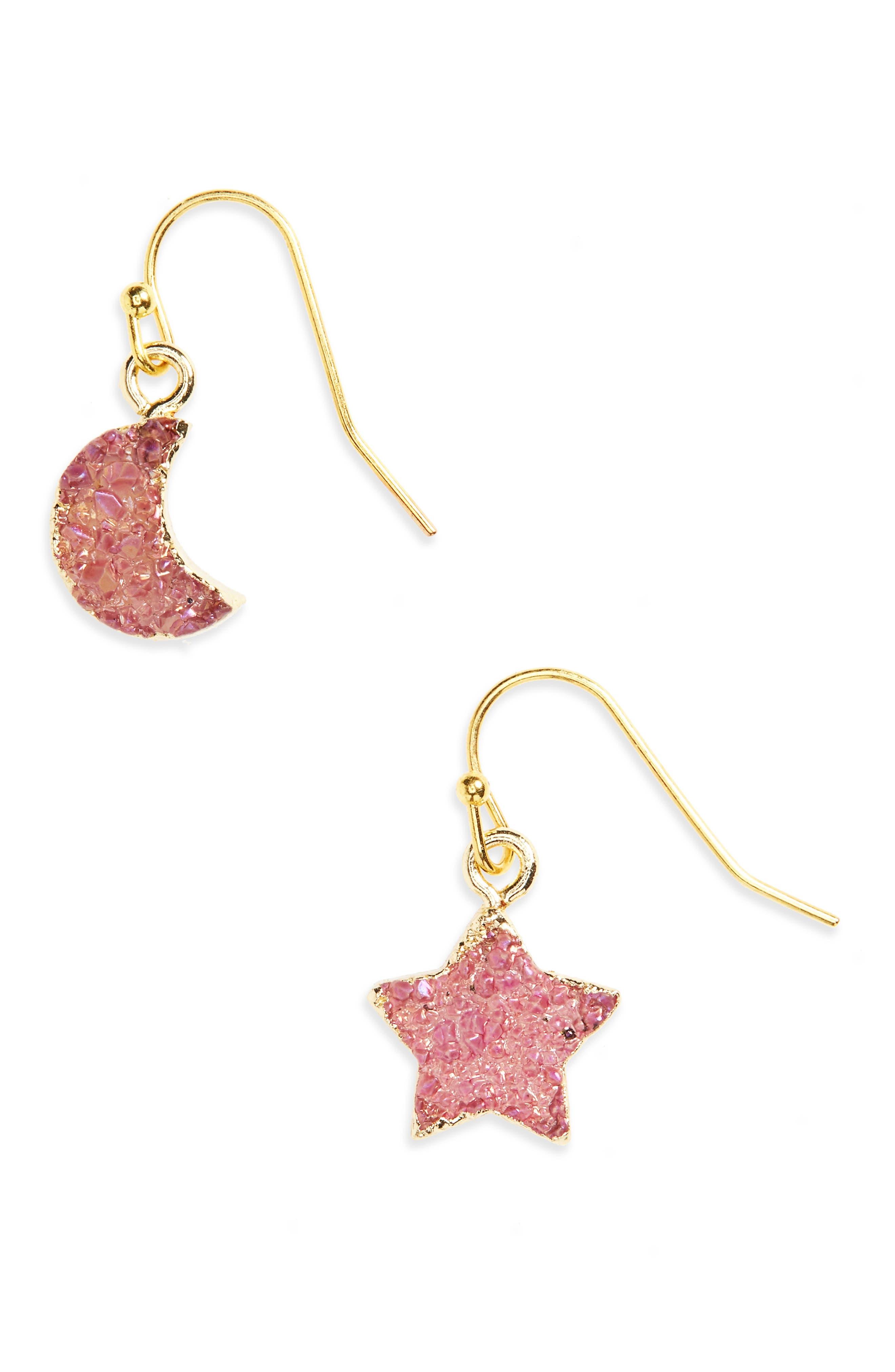 Moon & Star Drusy Stone Earrings,                         Main,                         color, Blue