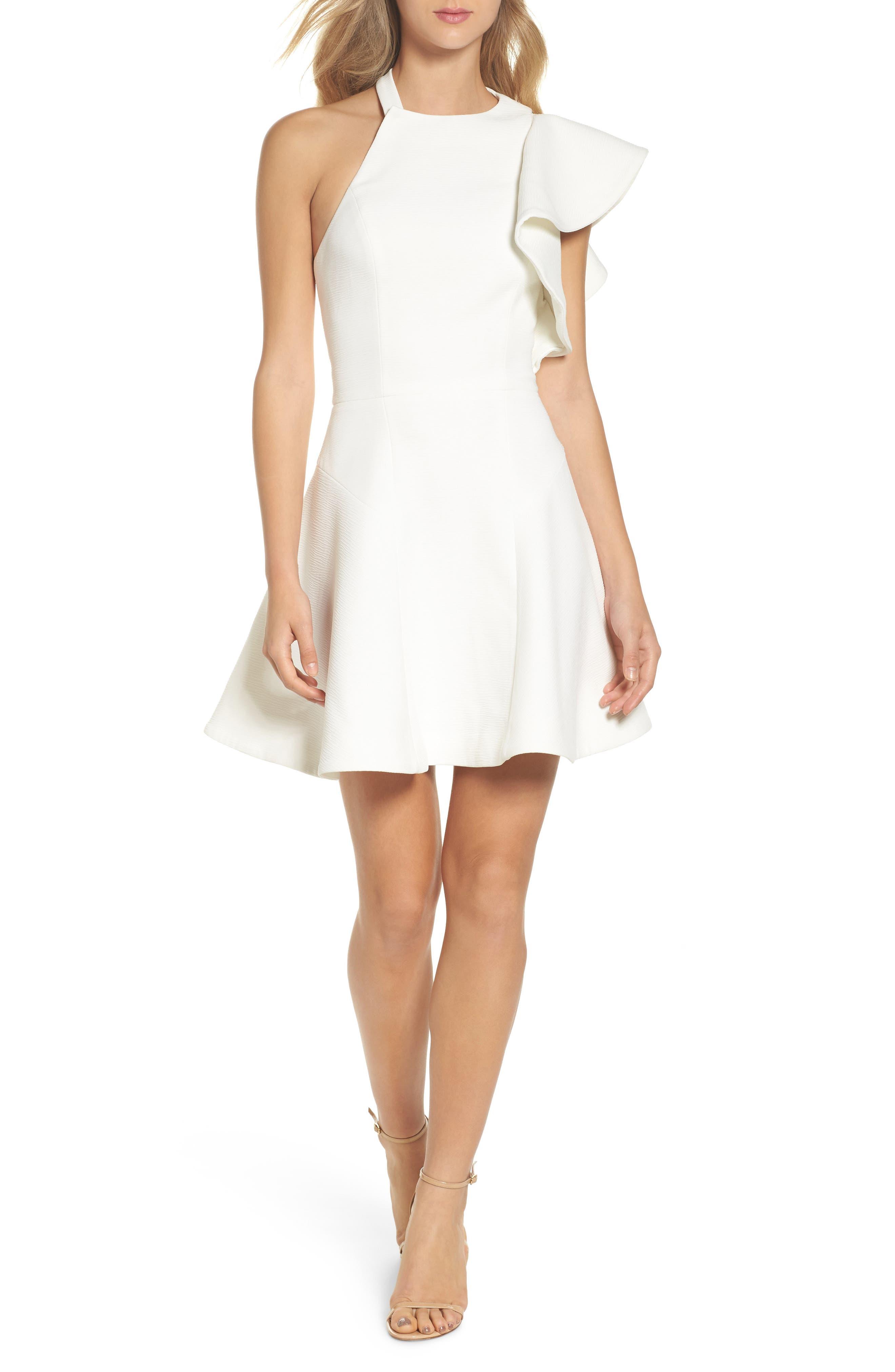 Infinite Ruffle Dress,                             Main thumbnail 1, color,                             Ivory