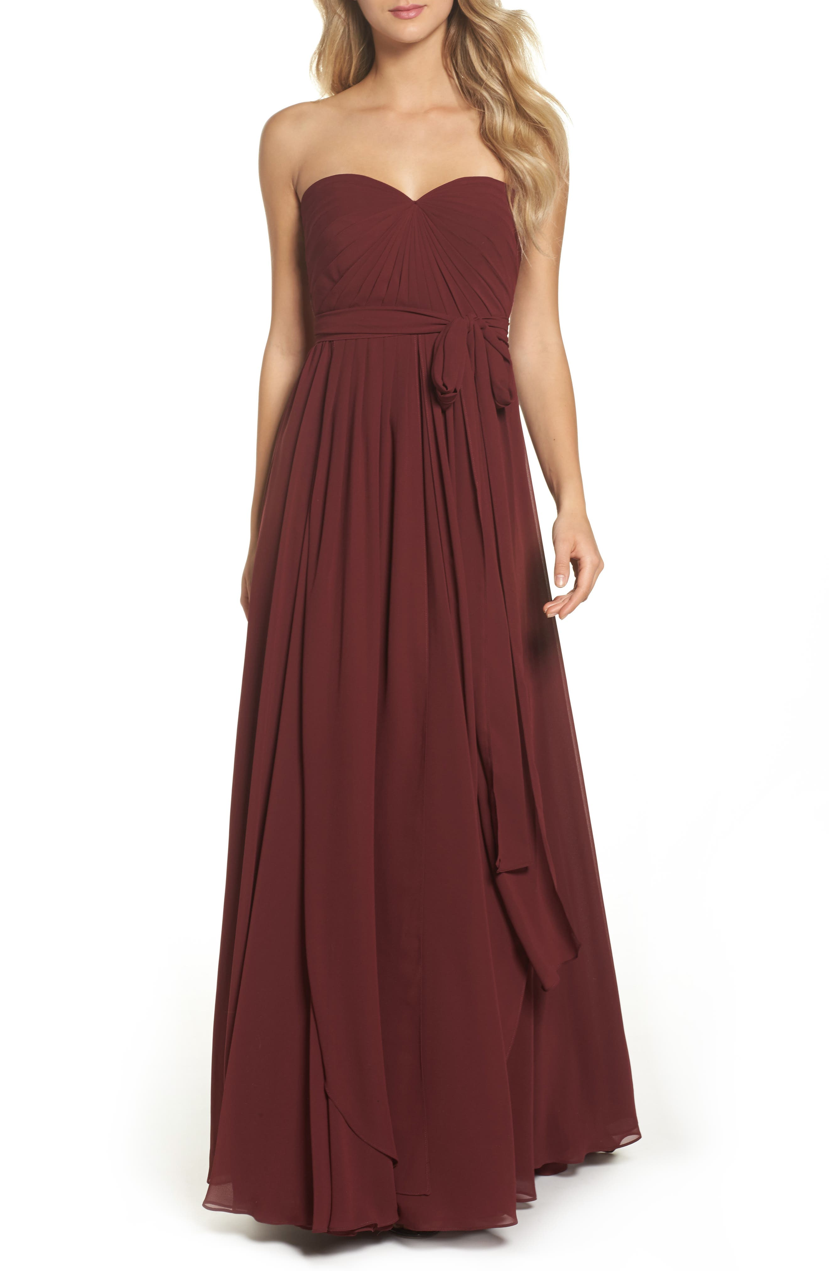 Mira Convertible Strapless Chiffon Gown,                         Main,                         color, Hibiscus