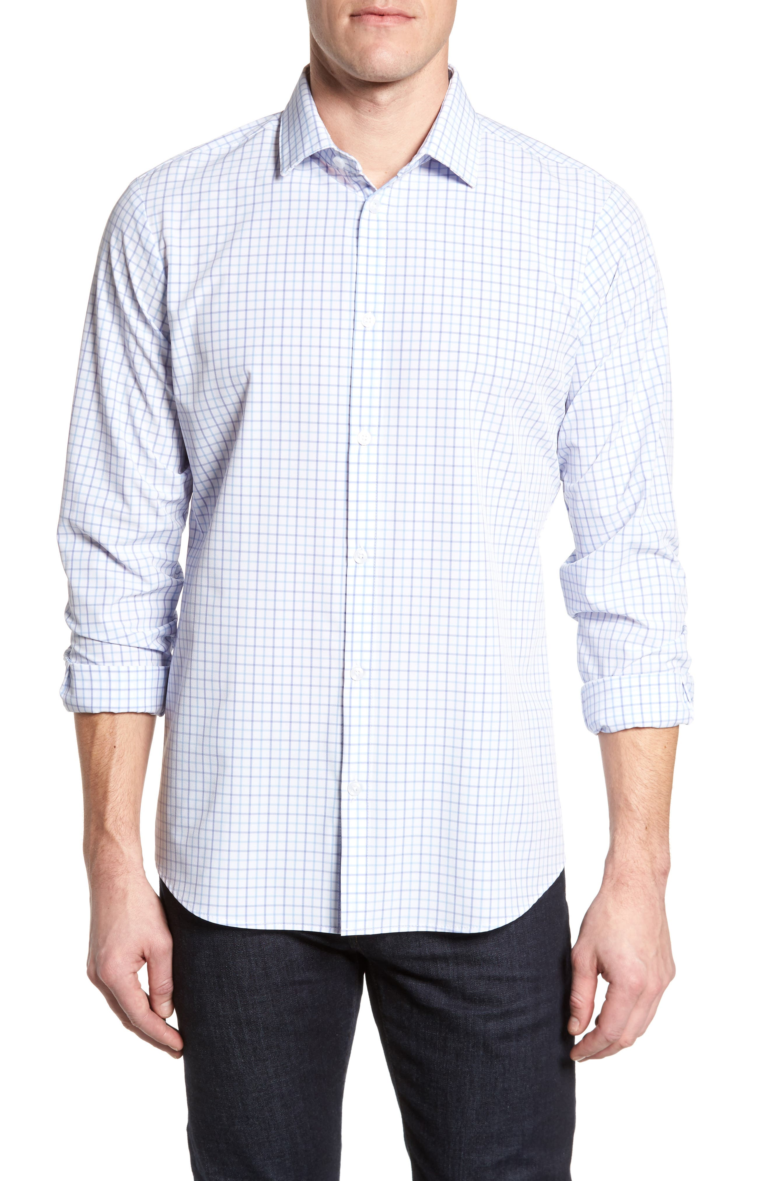 Hallandale Dusty Lavender Check Sport Shirt,                             Main thumbnail 1, color,                             White