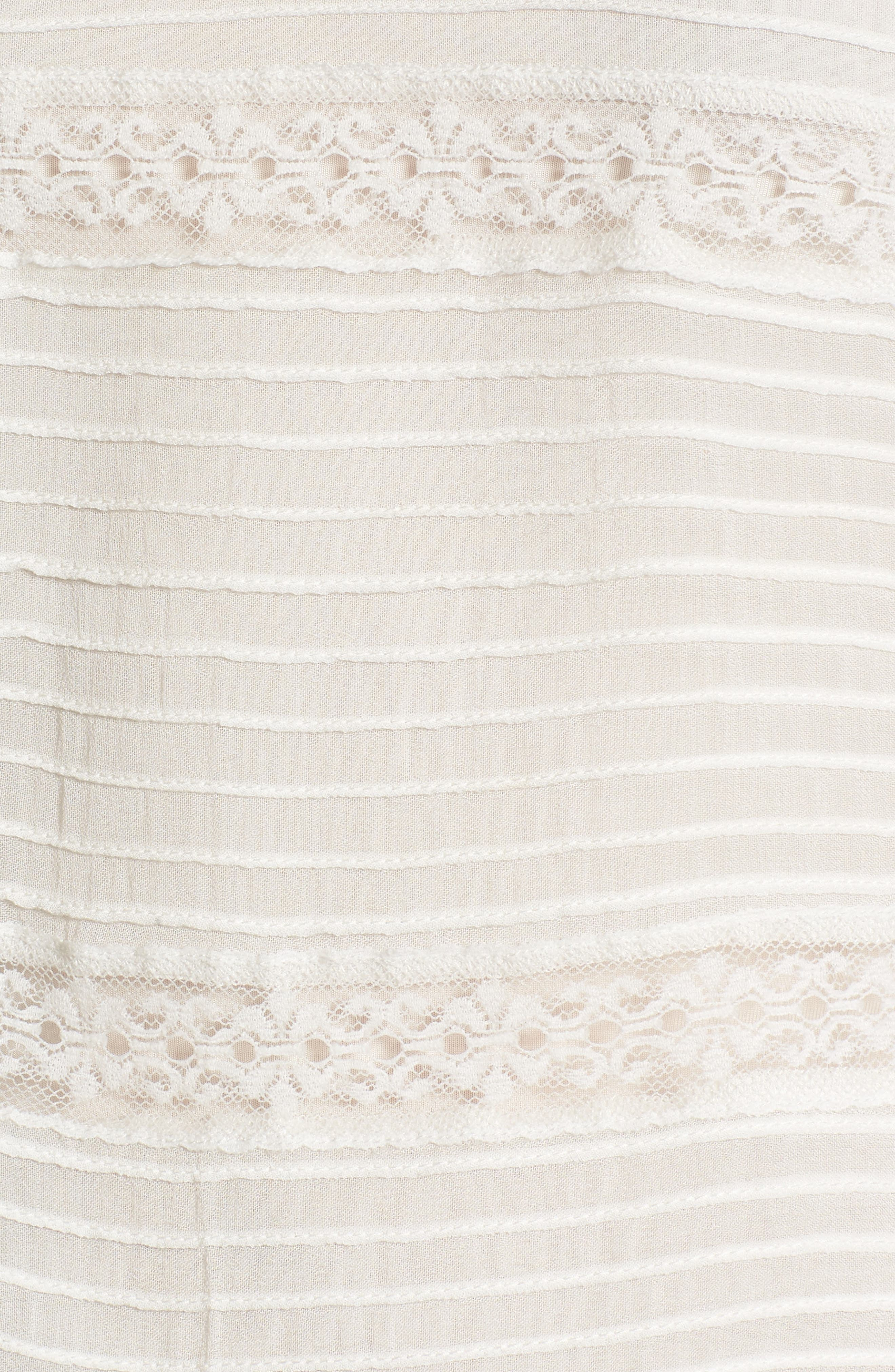 Pintuck & Lace Top,                             Alternate thumbnail 5, color,                             Ivory Cloud