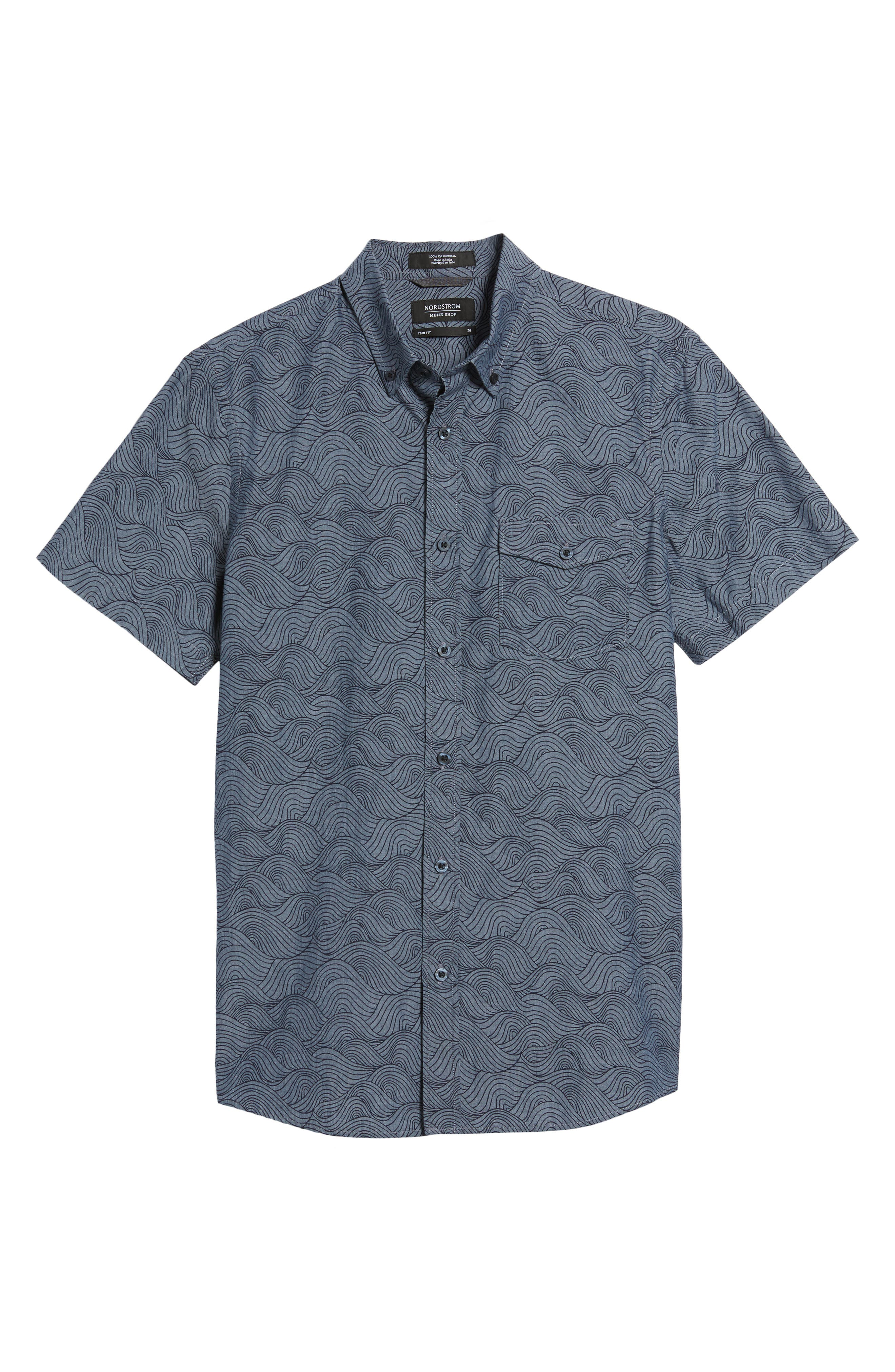 Trim Fit Ivy Print Sport Shirt,                             Alternate thumbnail 6, color,                             Grey Onyx Rolling Waves