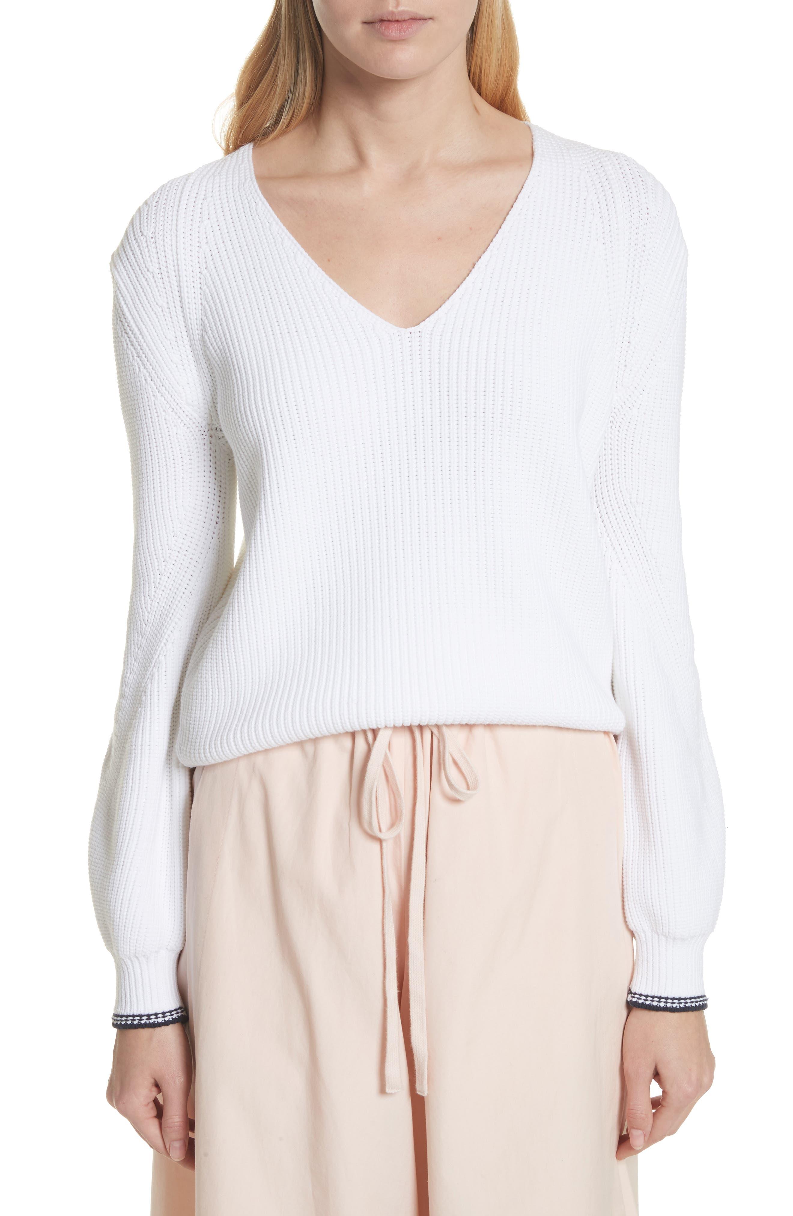 Bishop Sleeve Sweater,                             Main thumbnail 1, color,                             Optic White/ Coastal