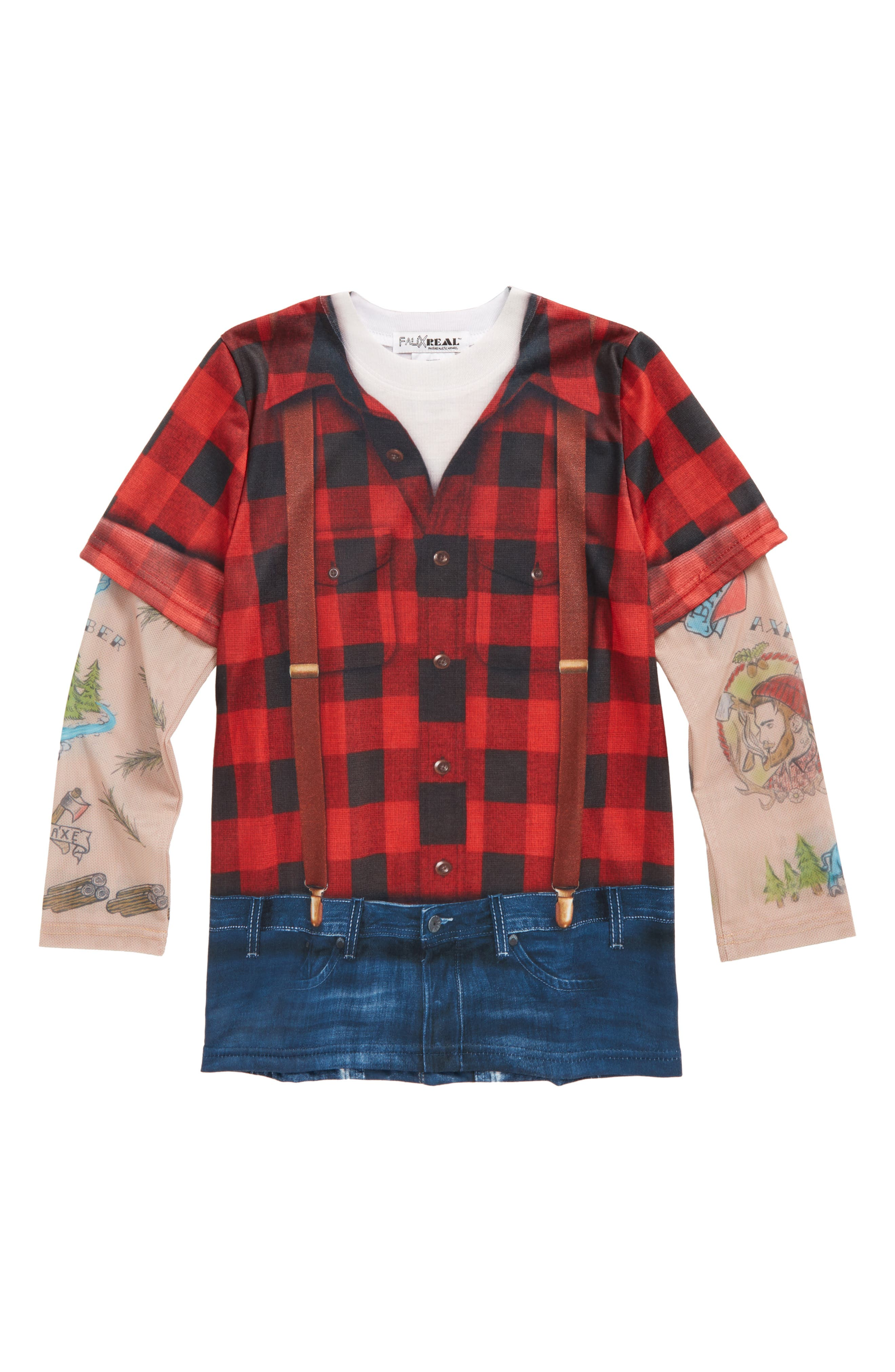 Lumberjack Tattoo Print Sleeve T-Shirt,                             Main thumbnail 1, color,                             Red/ Black Plaid