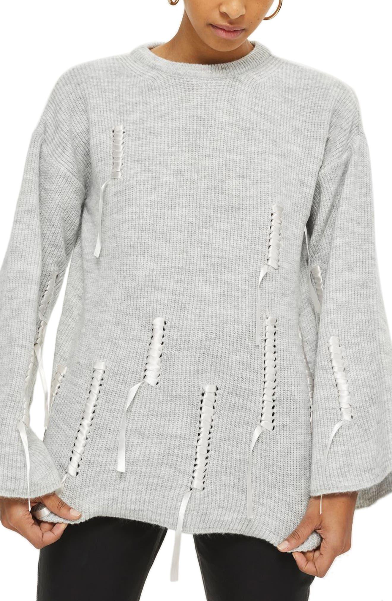 Ribbon Detail Sweater,                             Main thumbnail 1, color,                             Grey Marl