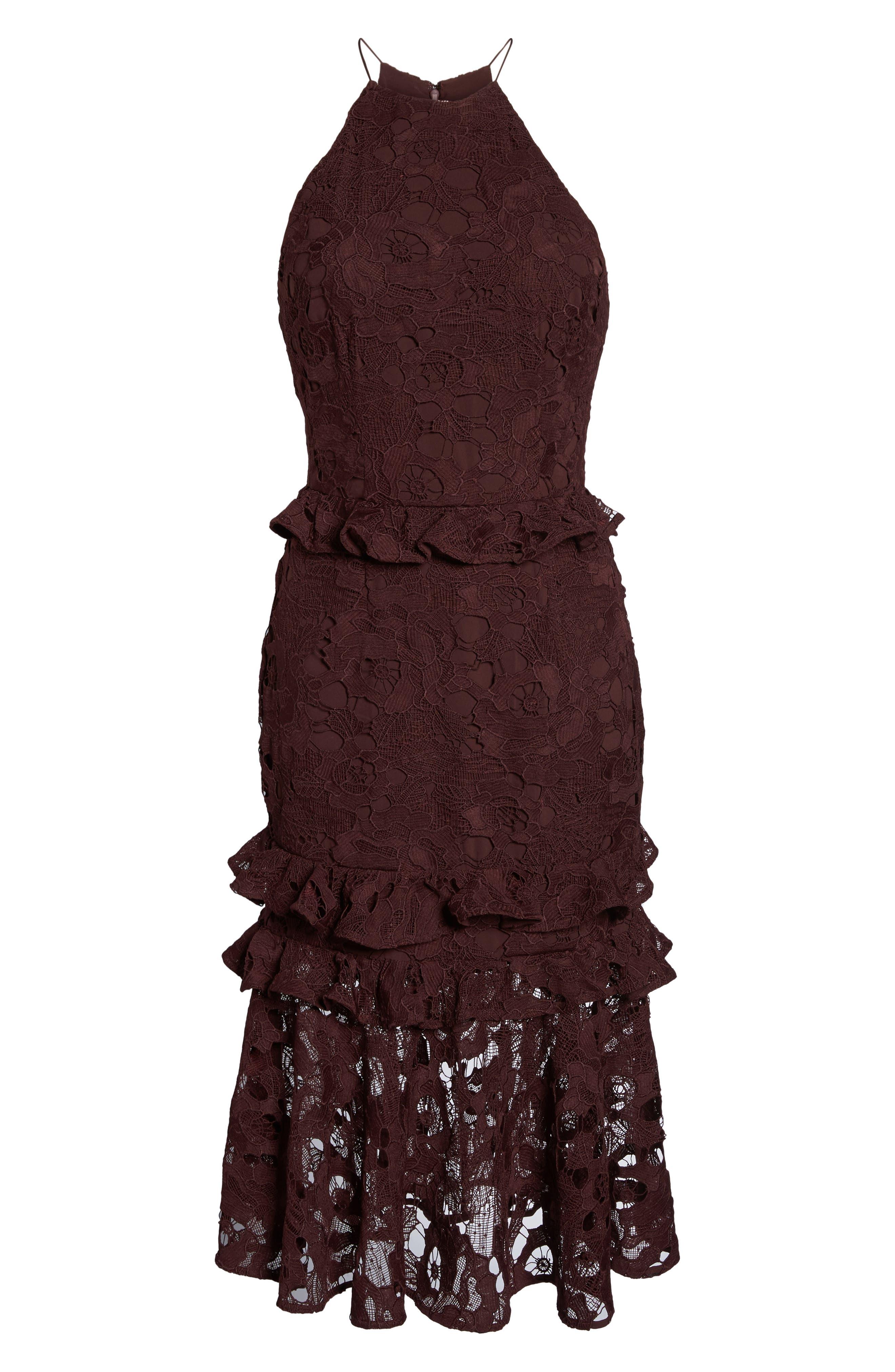 Enchantment Lace Midi Dress,                             Alternate thumbnail 6, color,                             Mahogany