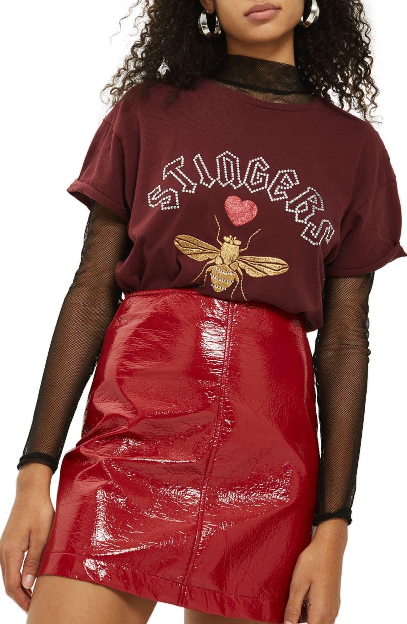 Stingers Embellished Tee,                         Main,                         color, Burgundy Multi