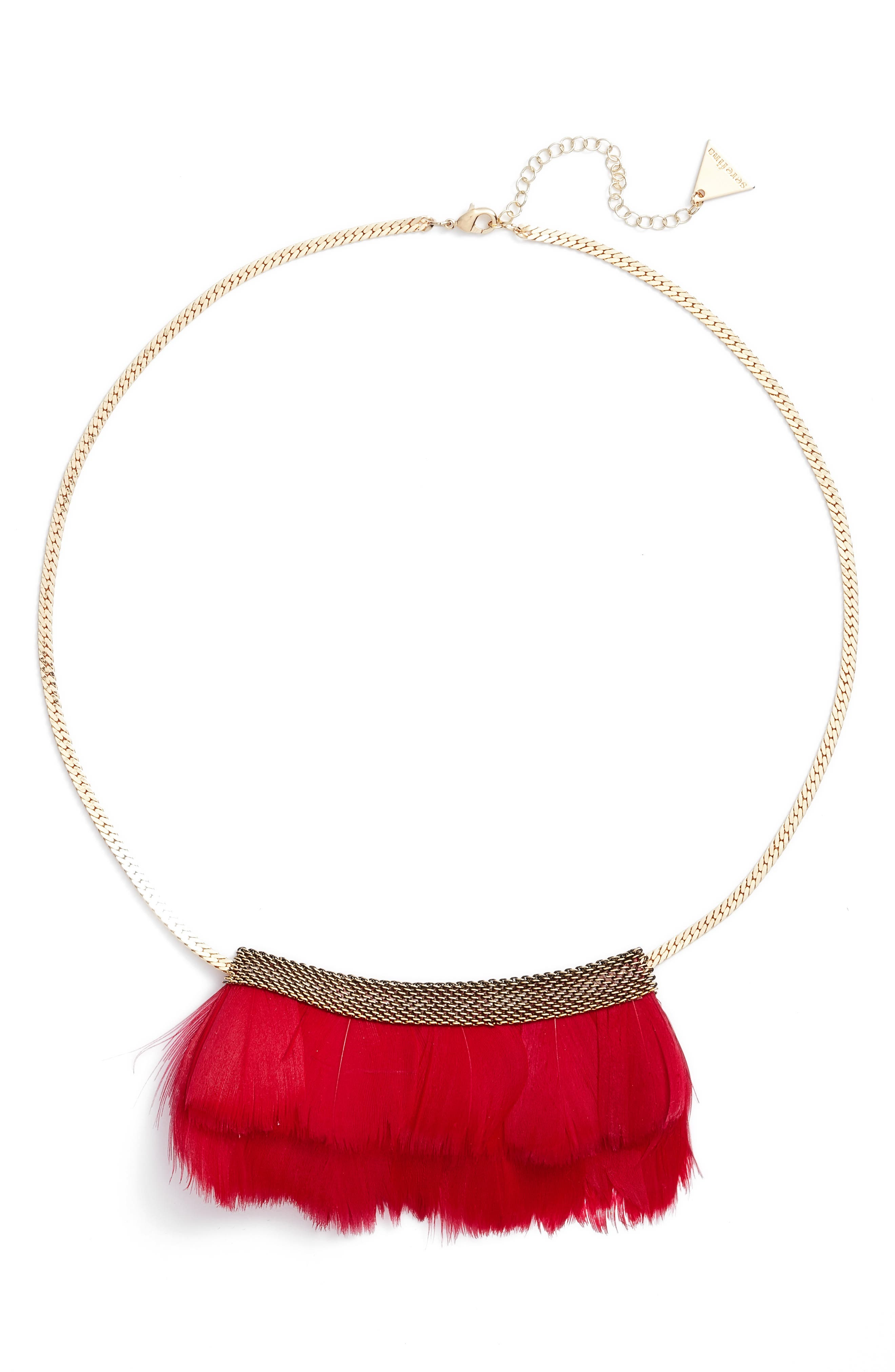 Feather Bib Necklace,                         Main,                         color, Cherry