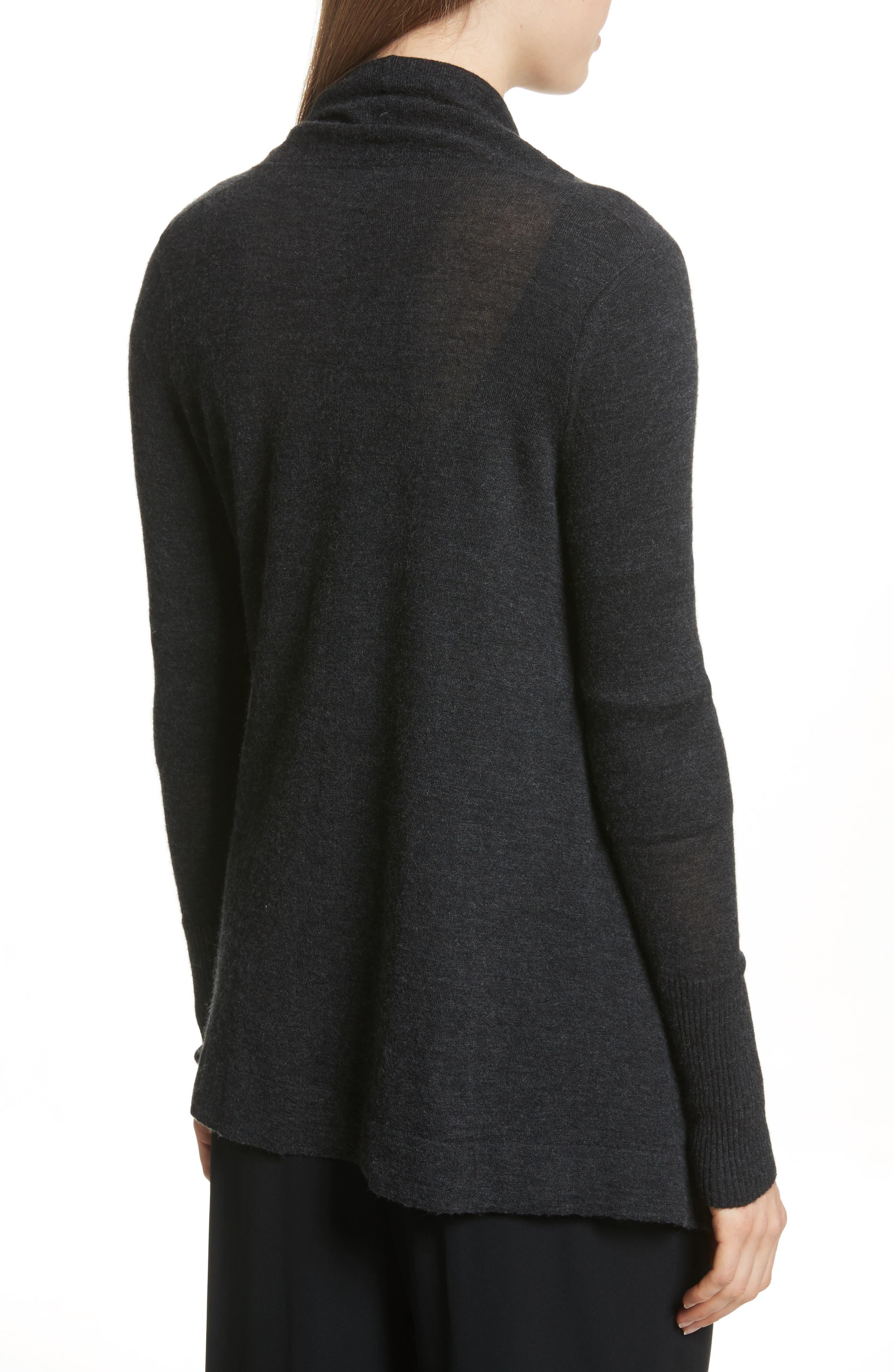 Drape Front Wool & Cashmere Cardigan,                             Alternate thumbnail 2, color,                             Charcoal