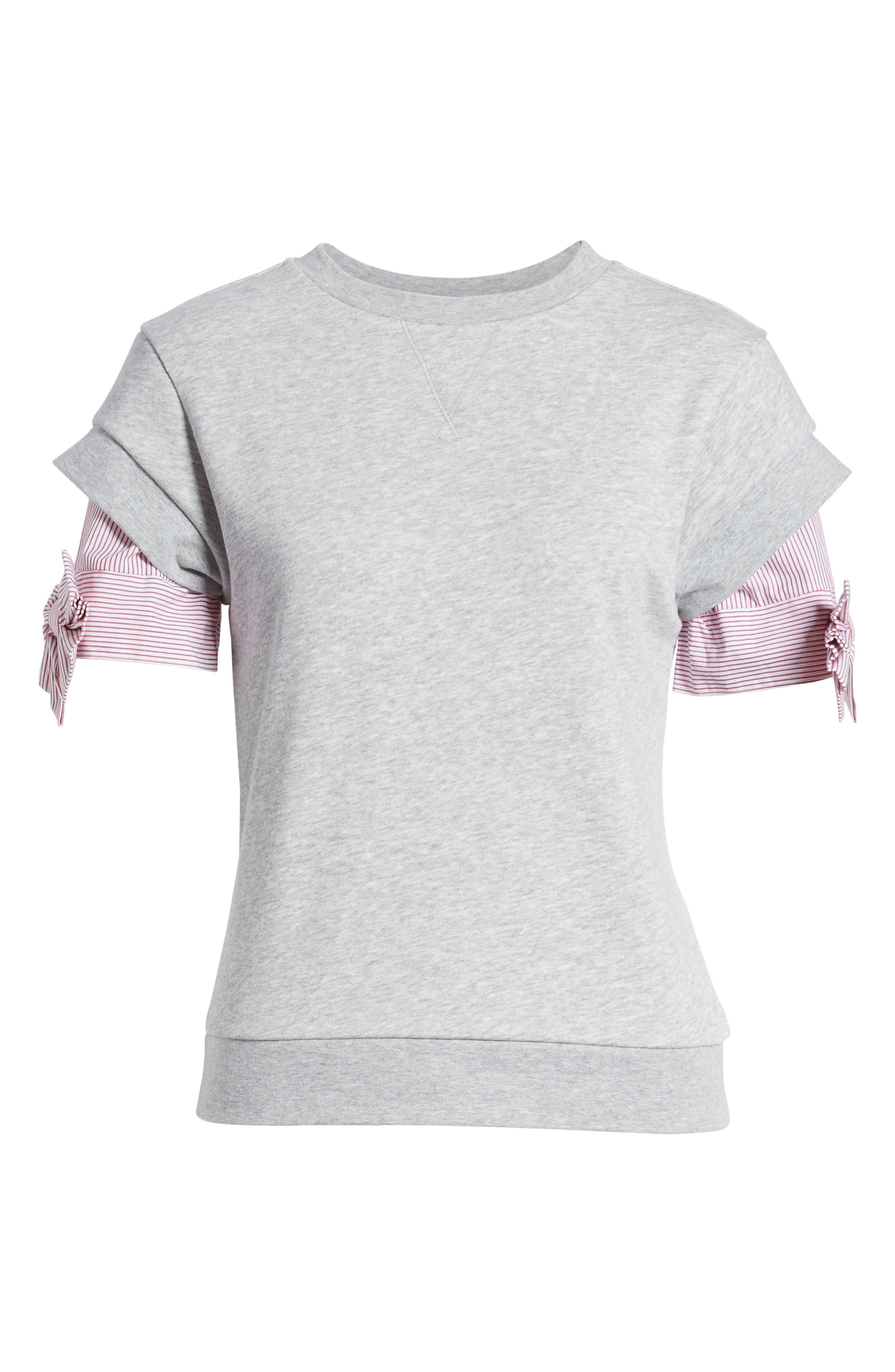 Bow Sleeve Sweatshirt,                             Alternate thumbnail 6, color,                             Grey Heather