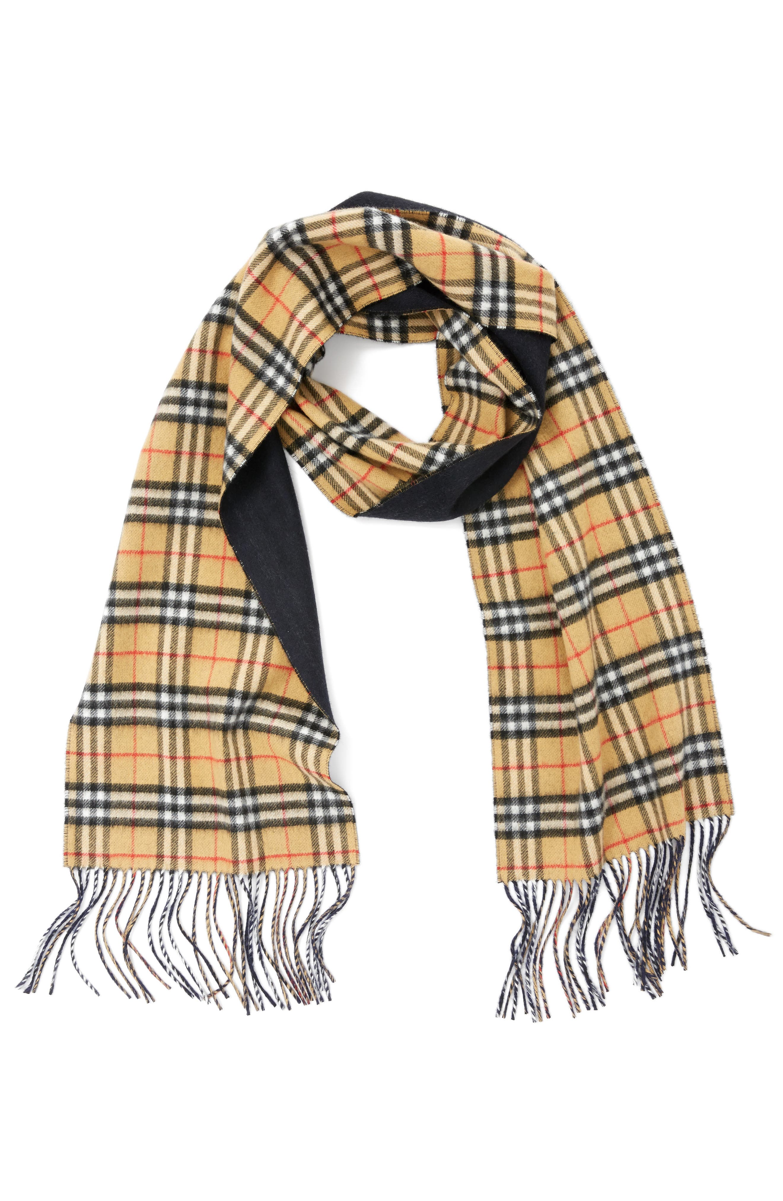 Reversible Vintage Check Cashmere Scarf,                             Alternate thumbnail 3, color,                             Blue Carbon