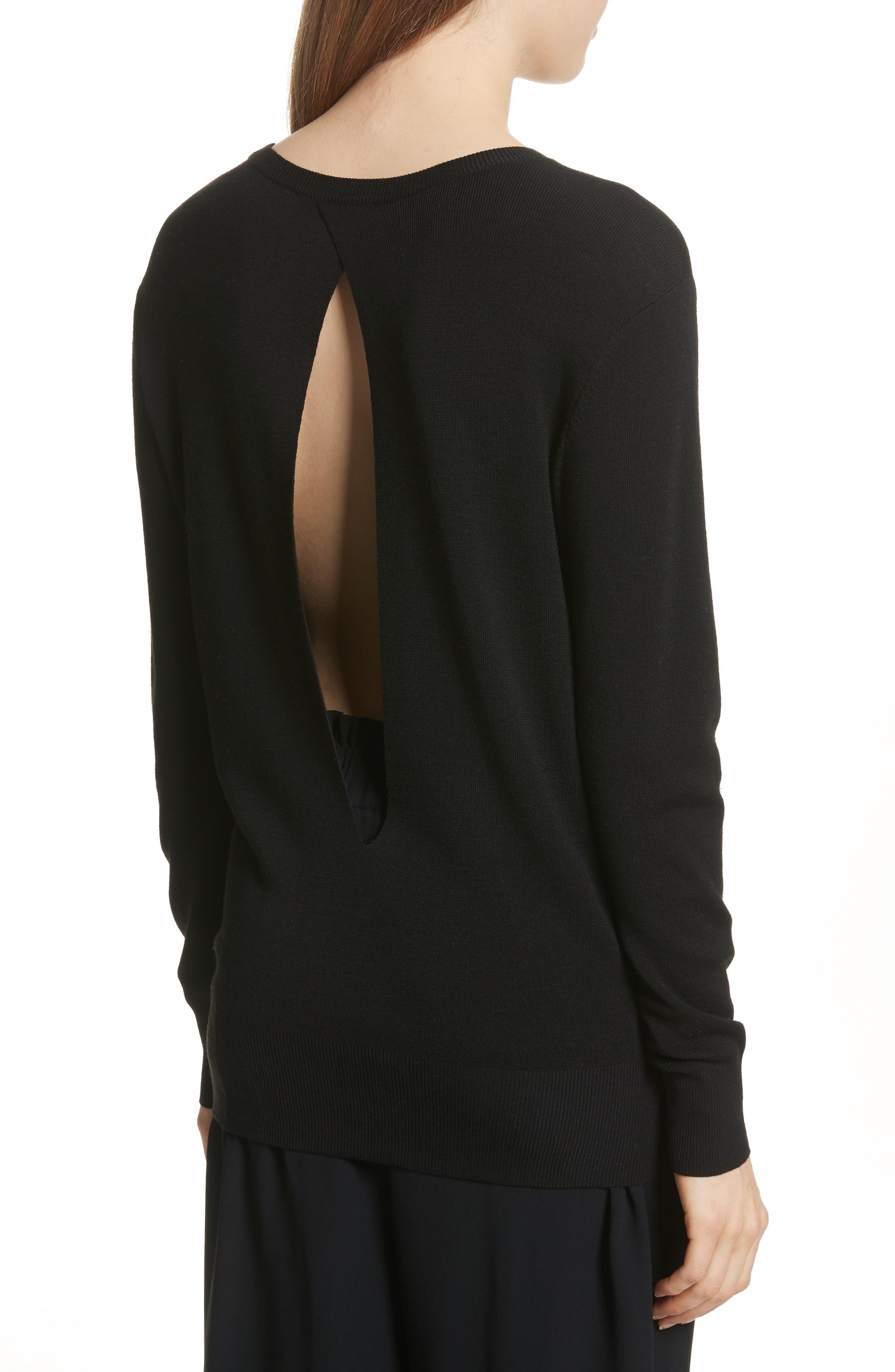 Slit Back Sweater,                             Alternate thumbnail 2, color,                             Black