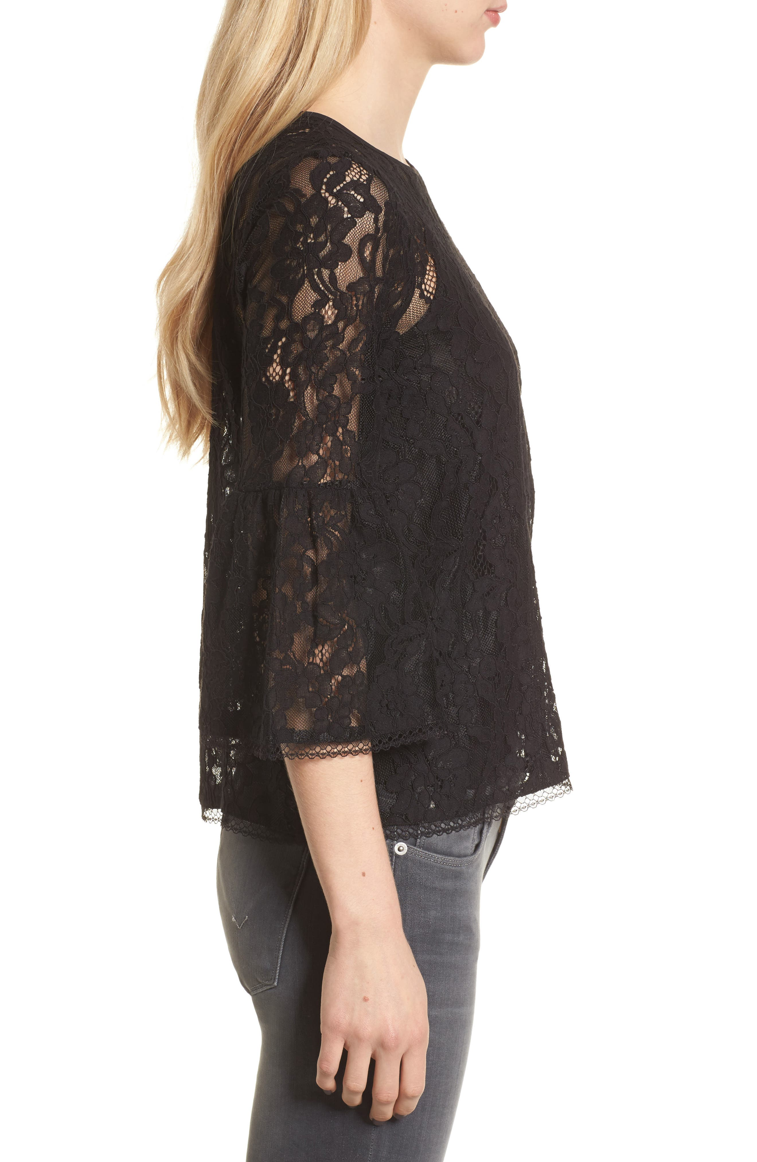 Bell Sleeve Lace Top,                             Alternate thumbnail 3, color,                             Black