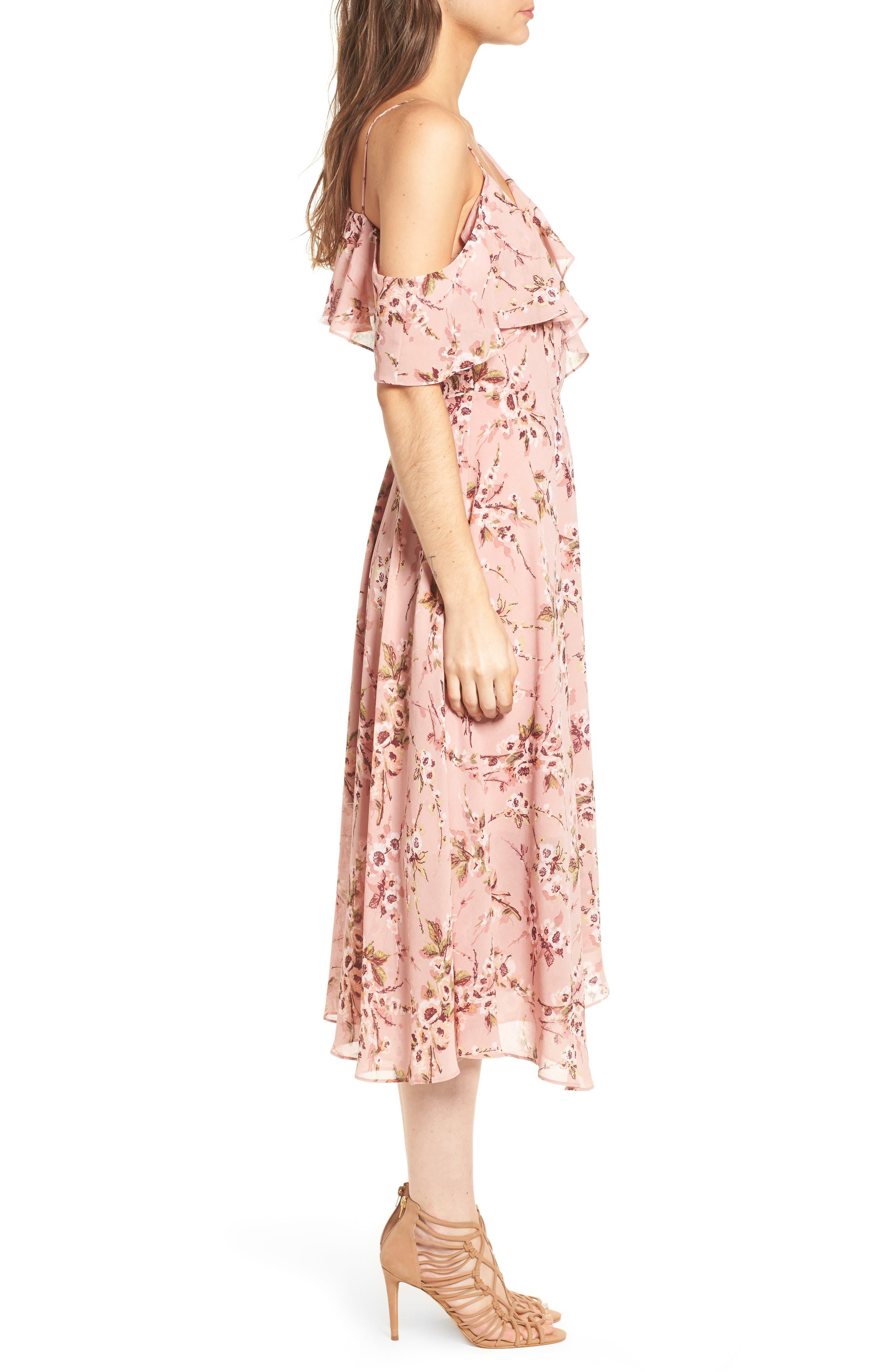Jenna Asymmetrical Wrap Dress,                             Alternate thumbnail 3, color,                             Pomegranate Floral