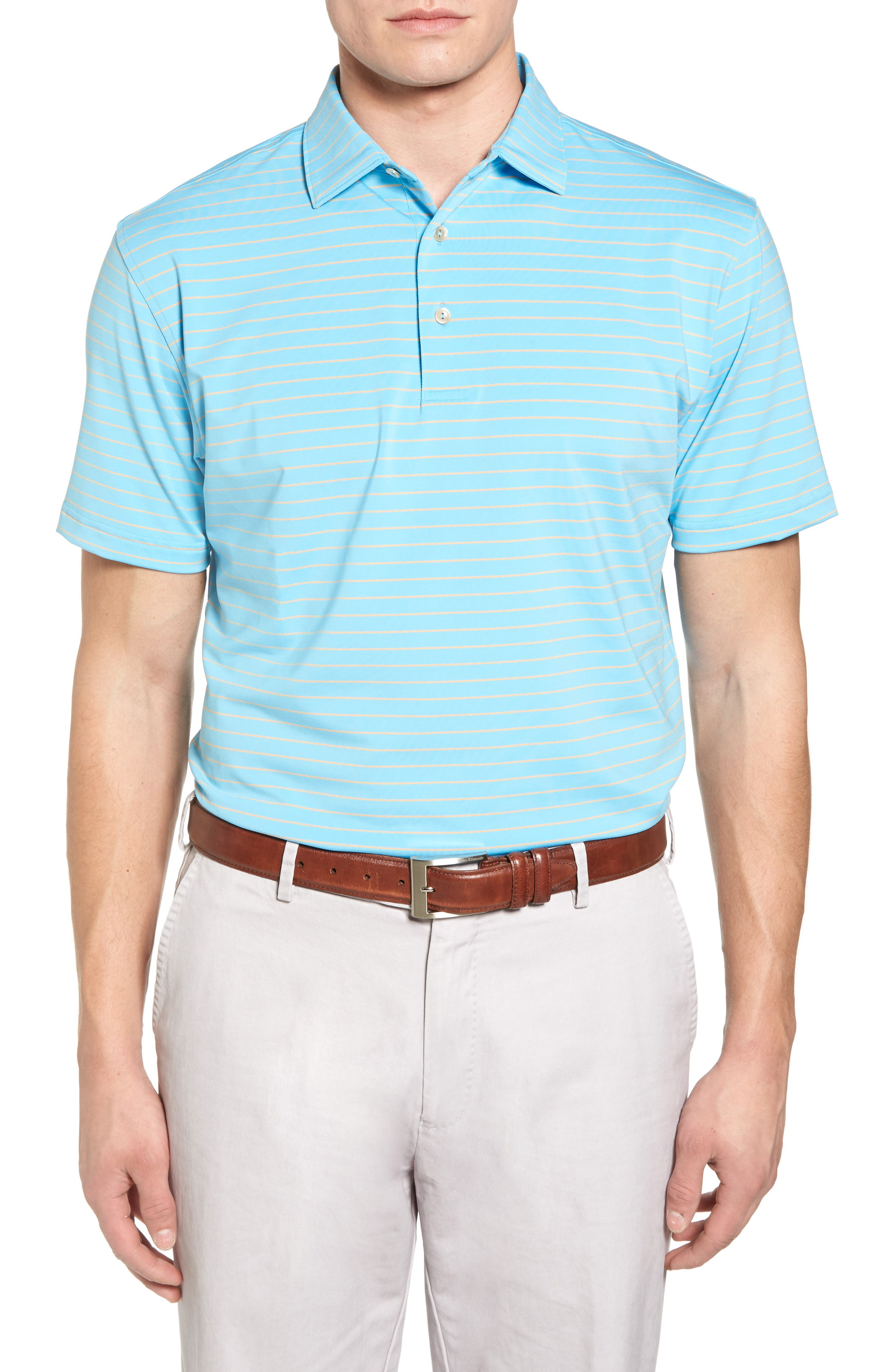 Halifax Pinstripe Stretch Jersey Polo,                         Main,                         color, Grotto Blue