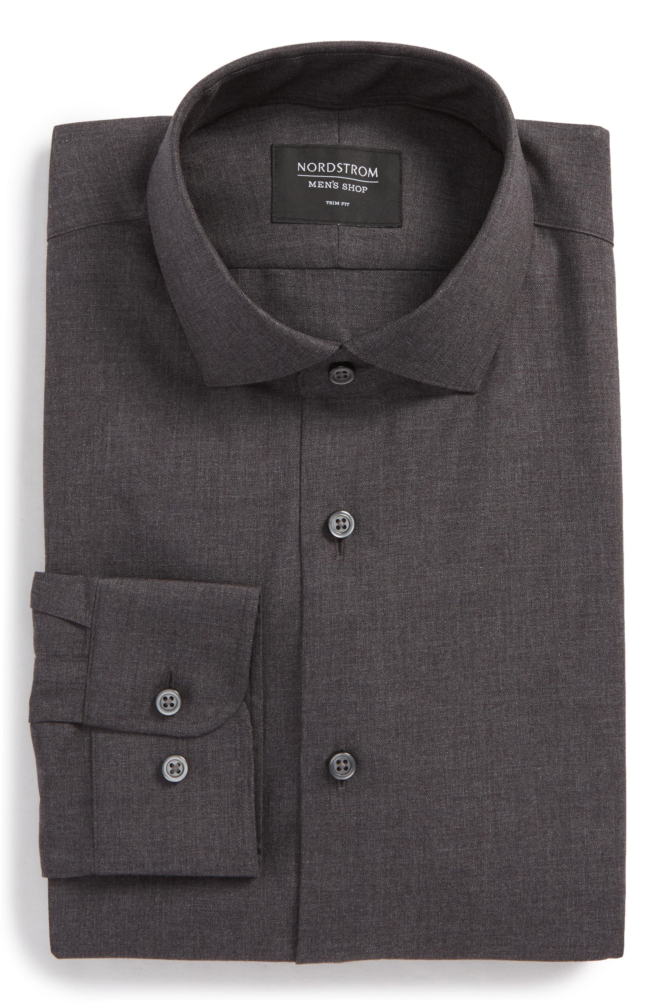 Trim Fit Solid Dress Shirt,                             Main thumbnail 1, color,                             Grey Phantom