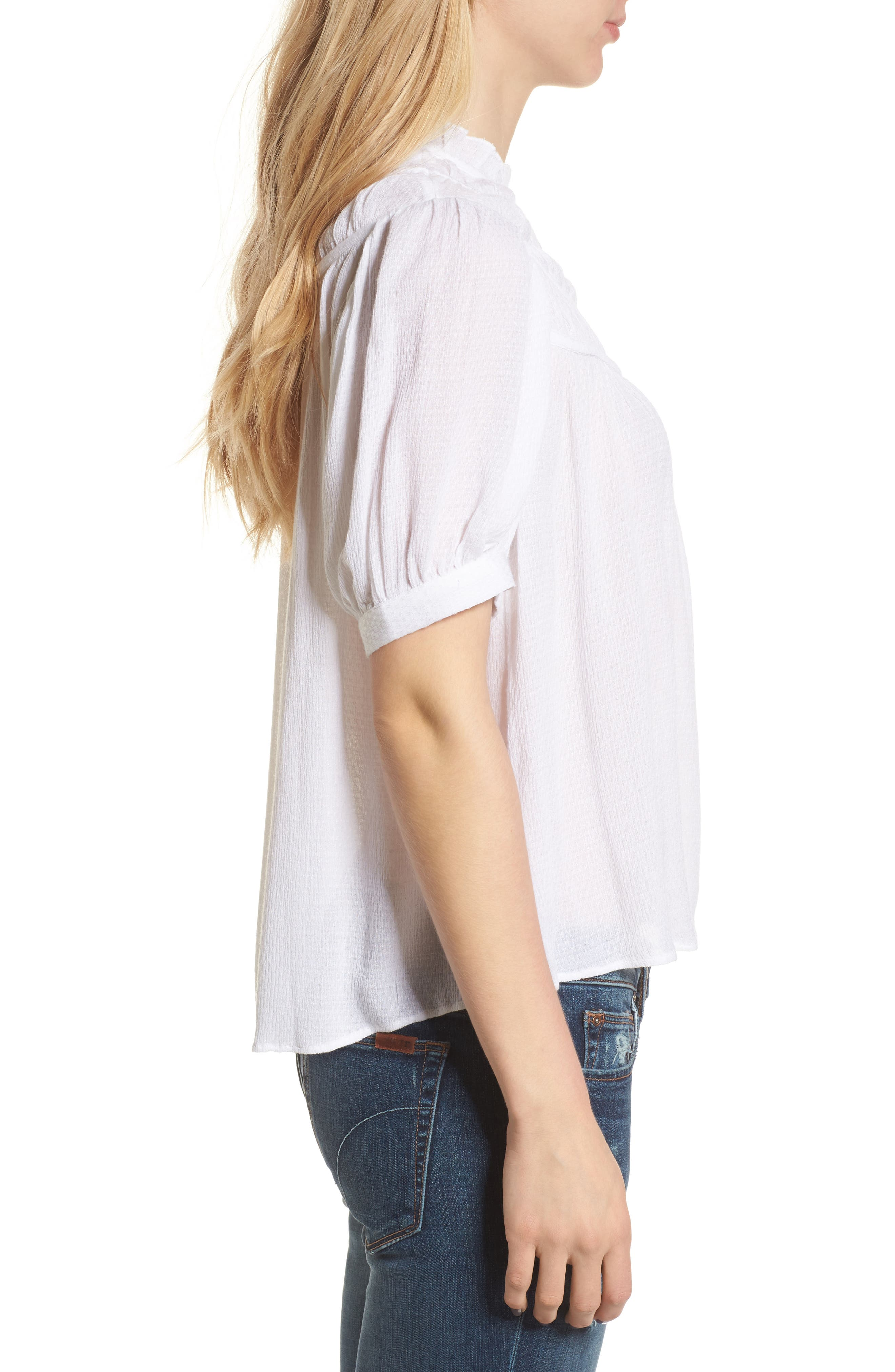 Ruched Puff Sleeve Top,                             Alternate thumbnail 3, color,                             White