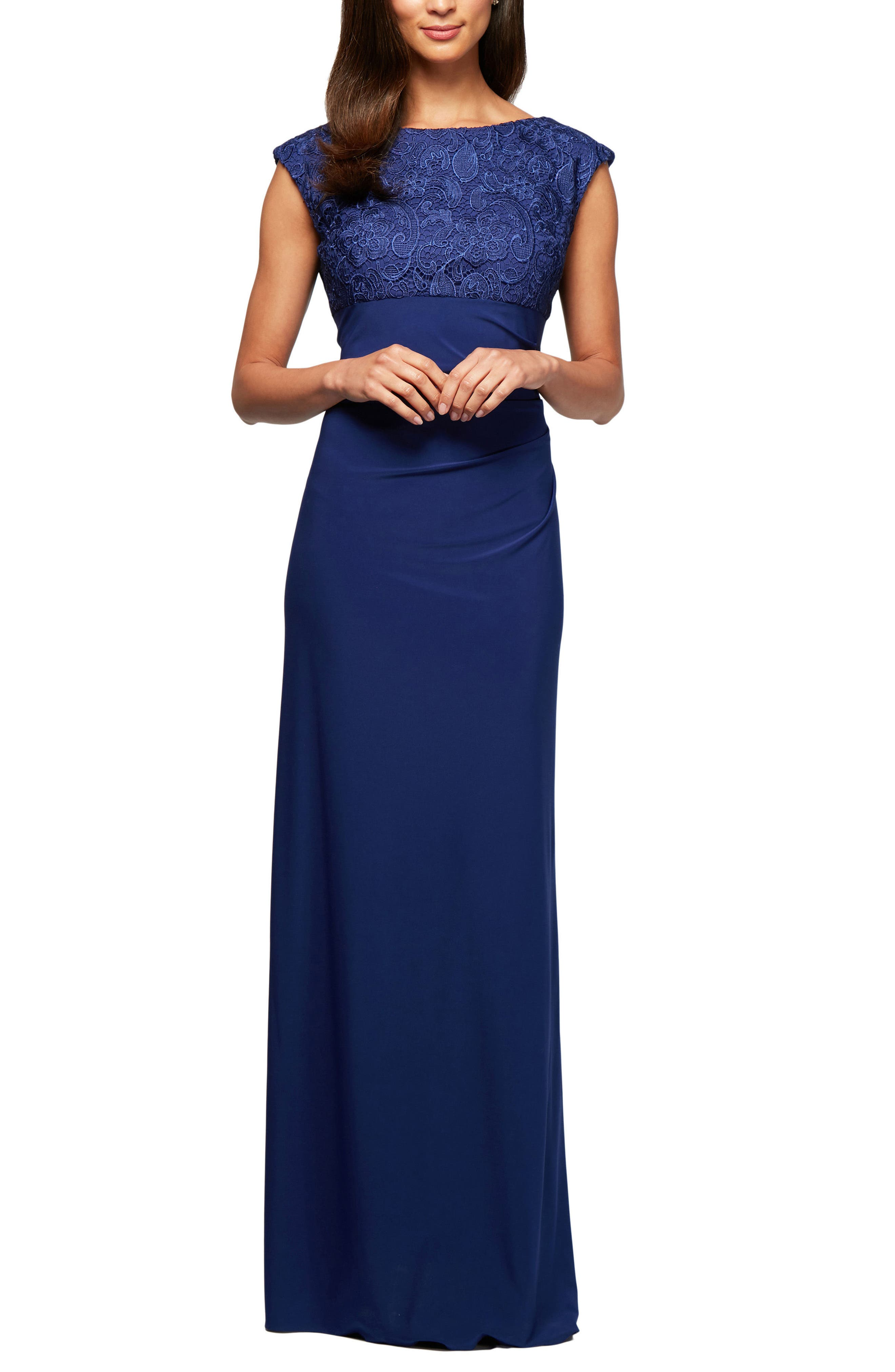 Ruched Gown,                             Main thumbnail 1, color,                             Royal