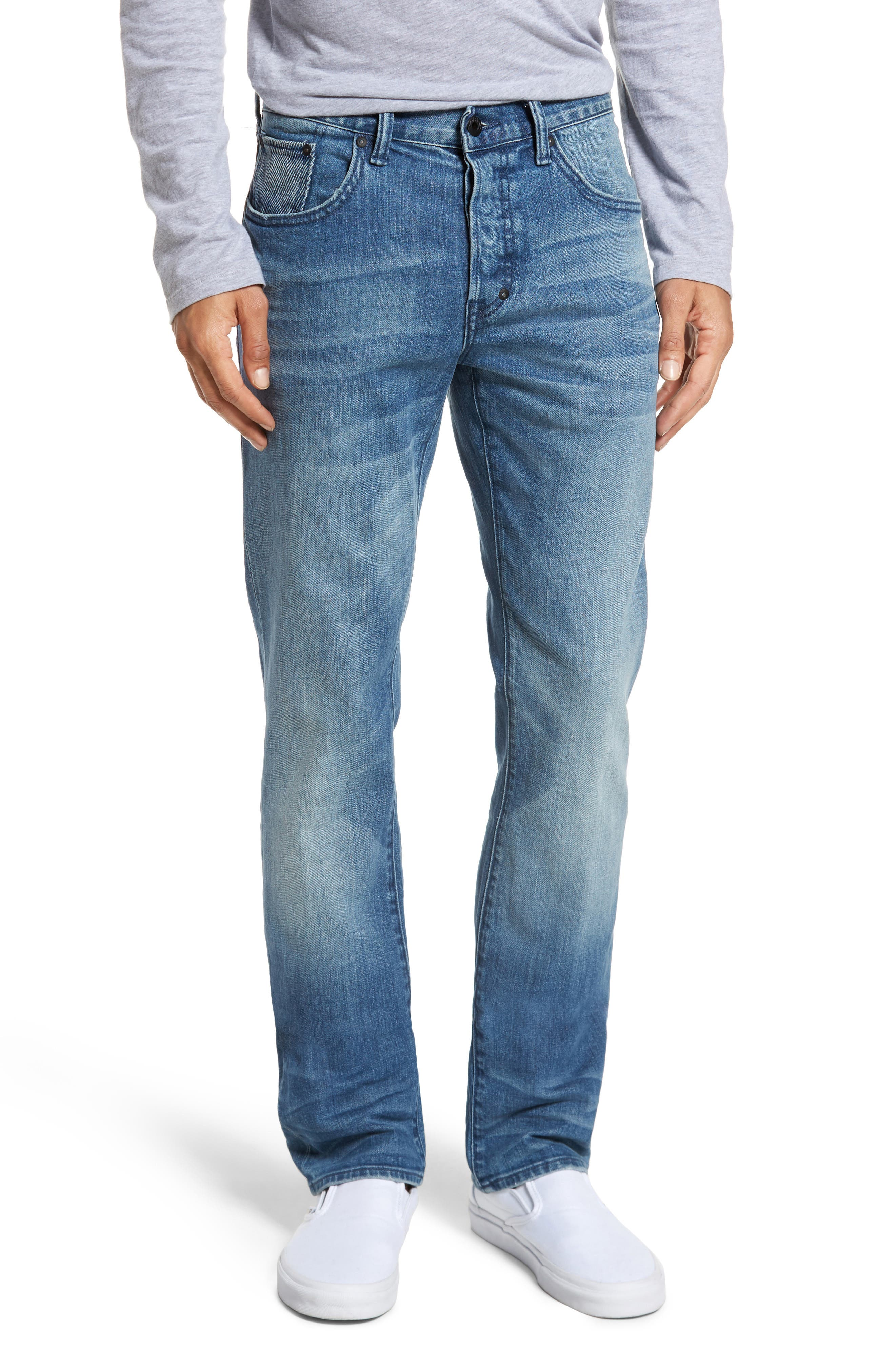 Denim Slim Straight Leg Jeans,                             Main thumbnail 1, color,                             Light Blue