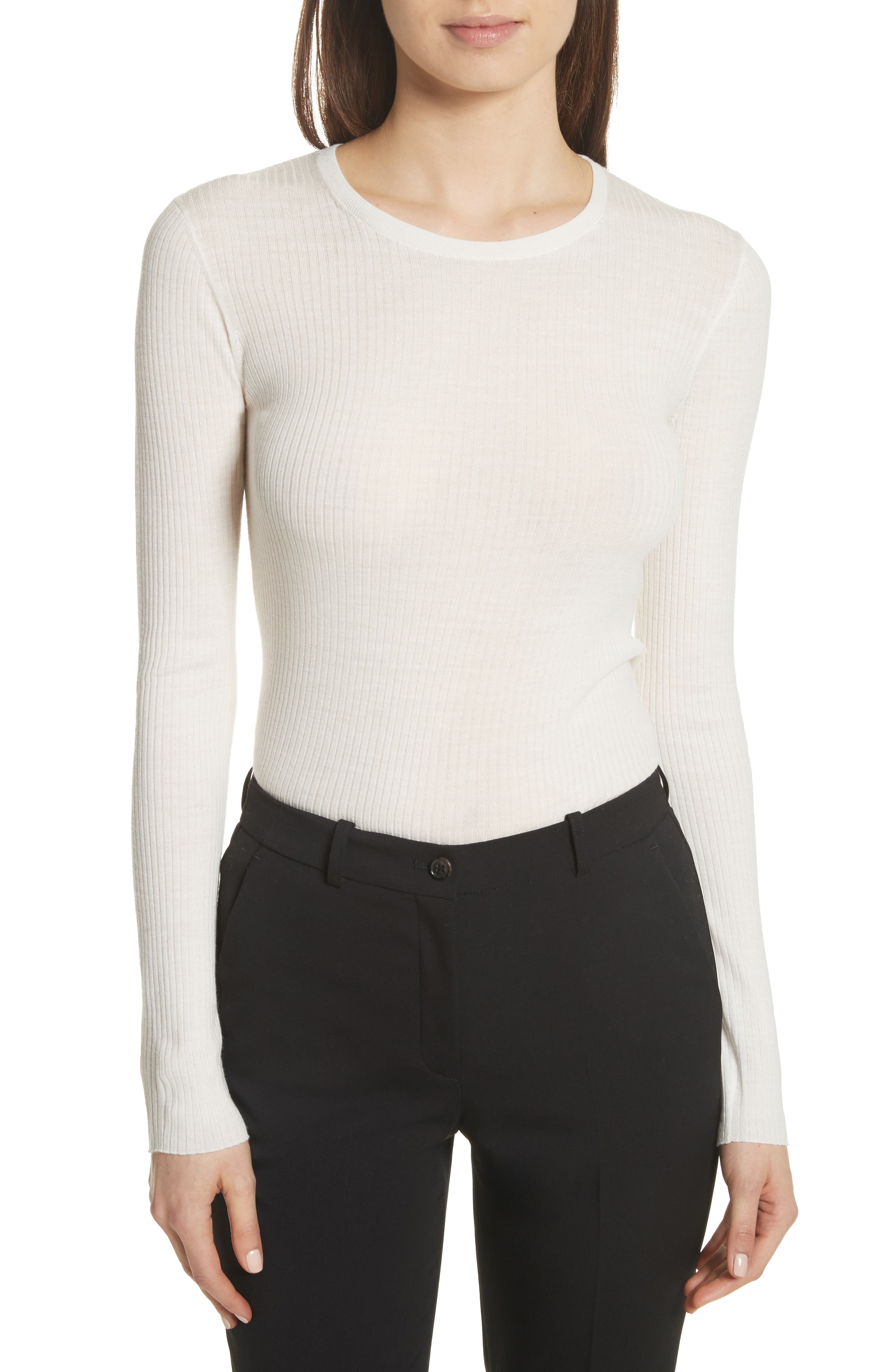 Mirzi Ribbed Sweater,                         Main,                         color, Ivory