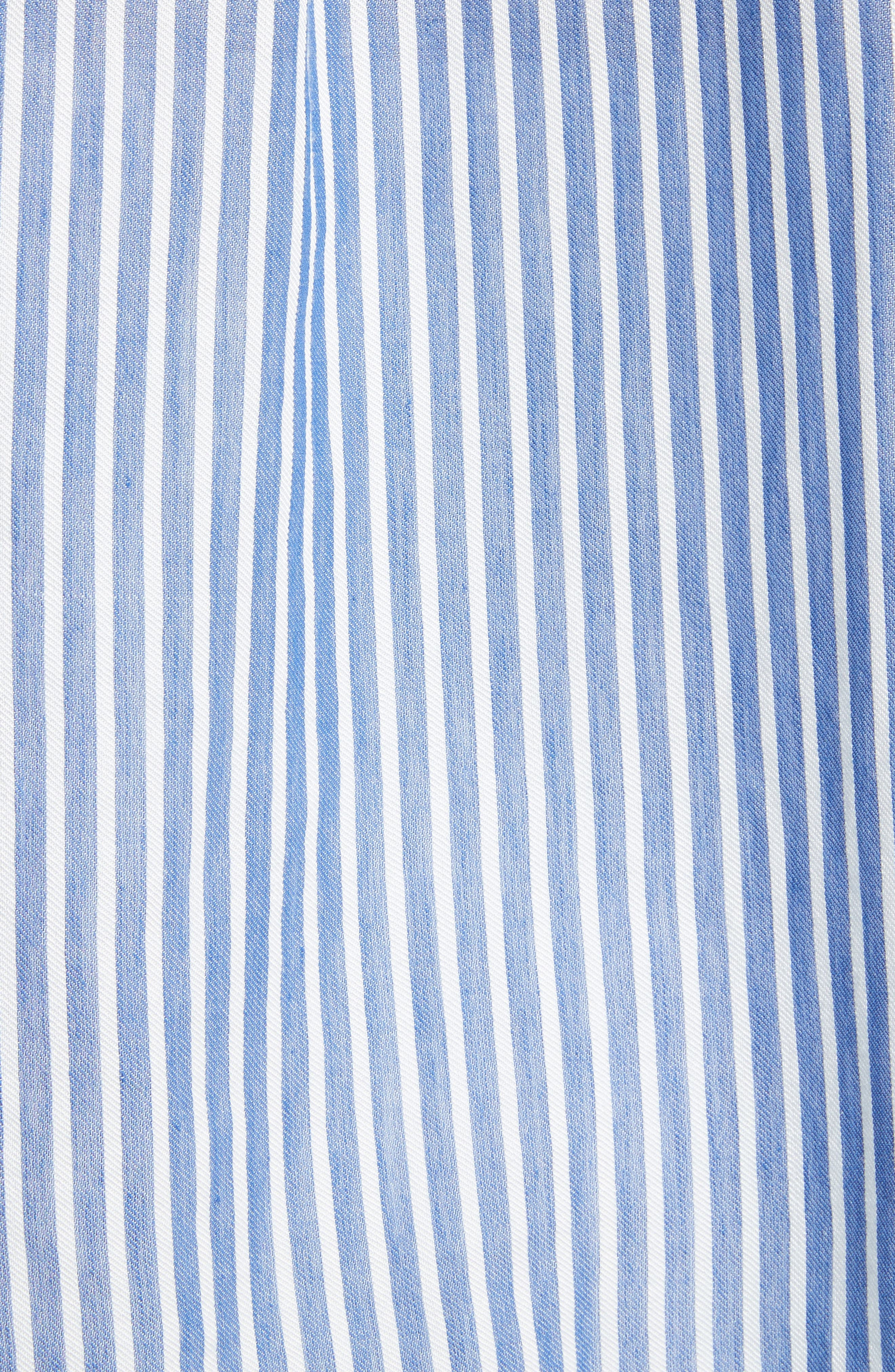 Classic Stripe Cotton Blend Tunic,                             Alternate thumbnail 5, color,                             White/ Blue