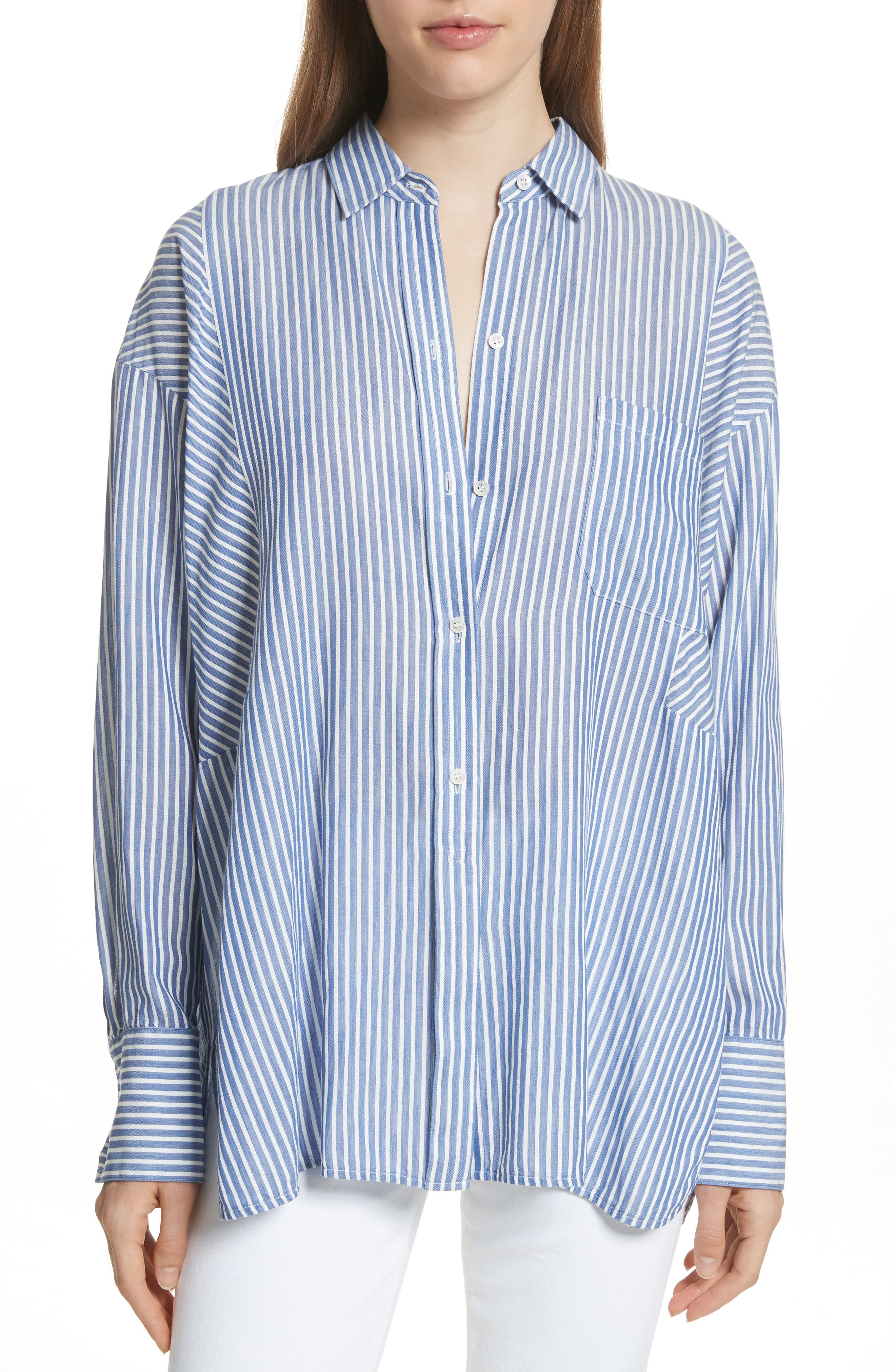 Classic Stripe Cotton Blend Tunic,                             Main thumbnail 1, color,                             White/ Blue