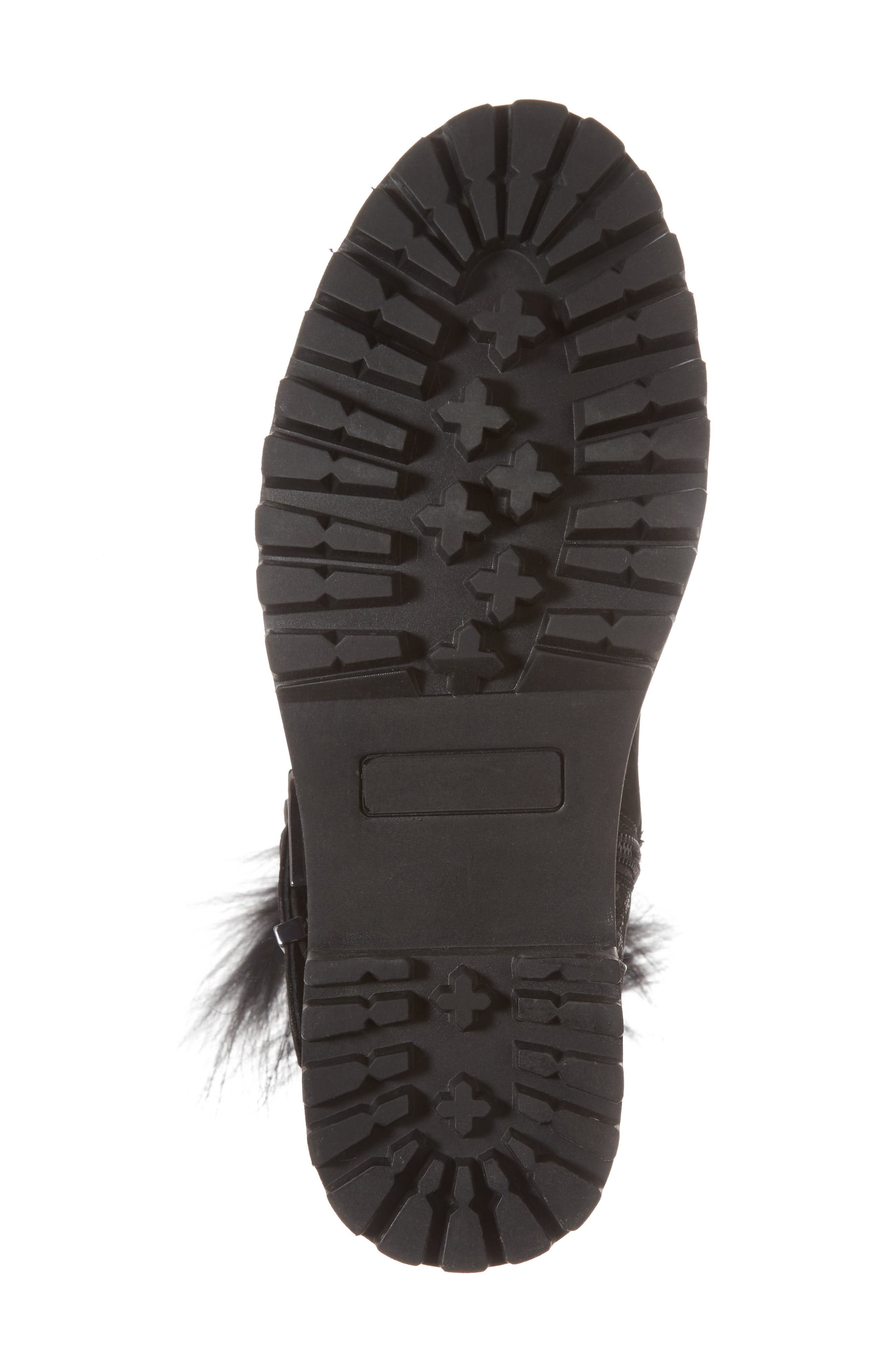 Theresa Boot with Genuine Fox Fur Trim,                             Alternate thumbnail 6, color,                             Black Suede