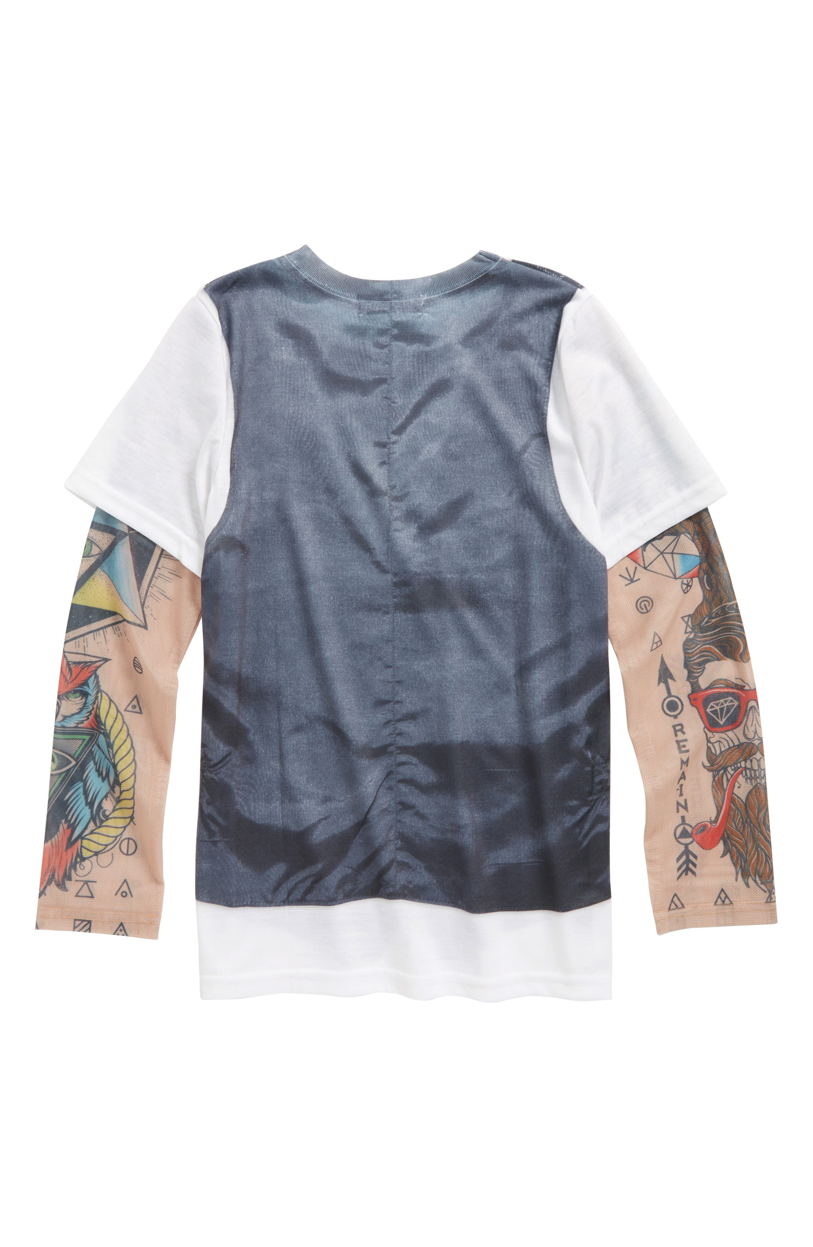 Hipster Vest & Bow Tie T-Shirt with Tattoo Sleeves,                             Alternate thumbnail 3, color,                             Grey