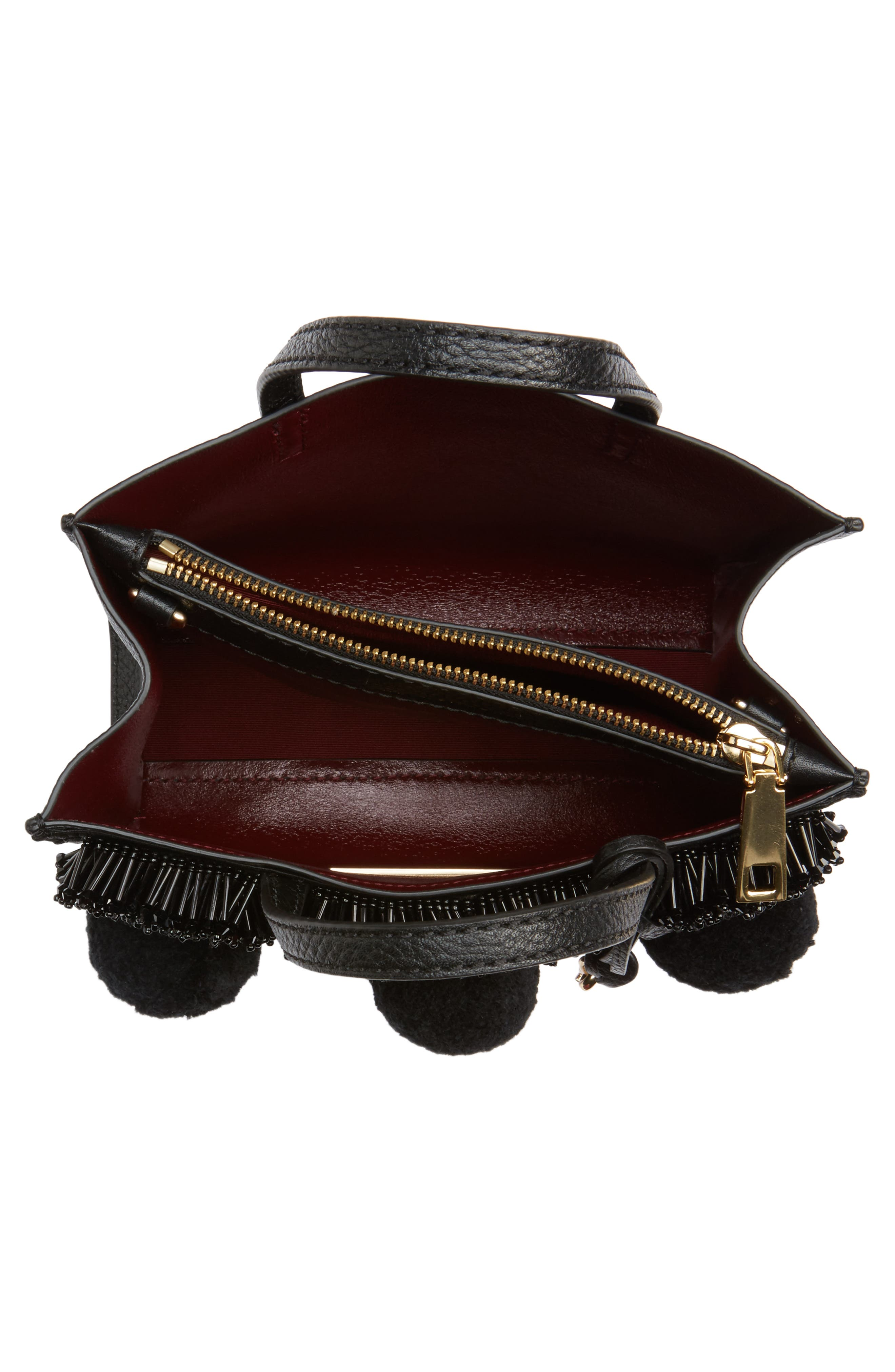 The Grind Mini Pompom Leather Tote,                             Alternate thumbnail 4, color,                             Black