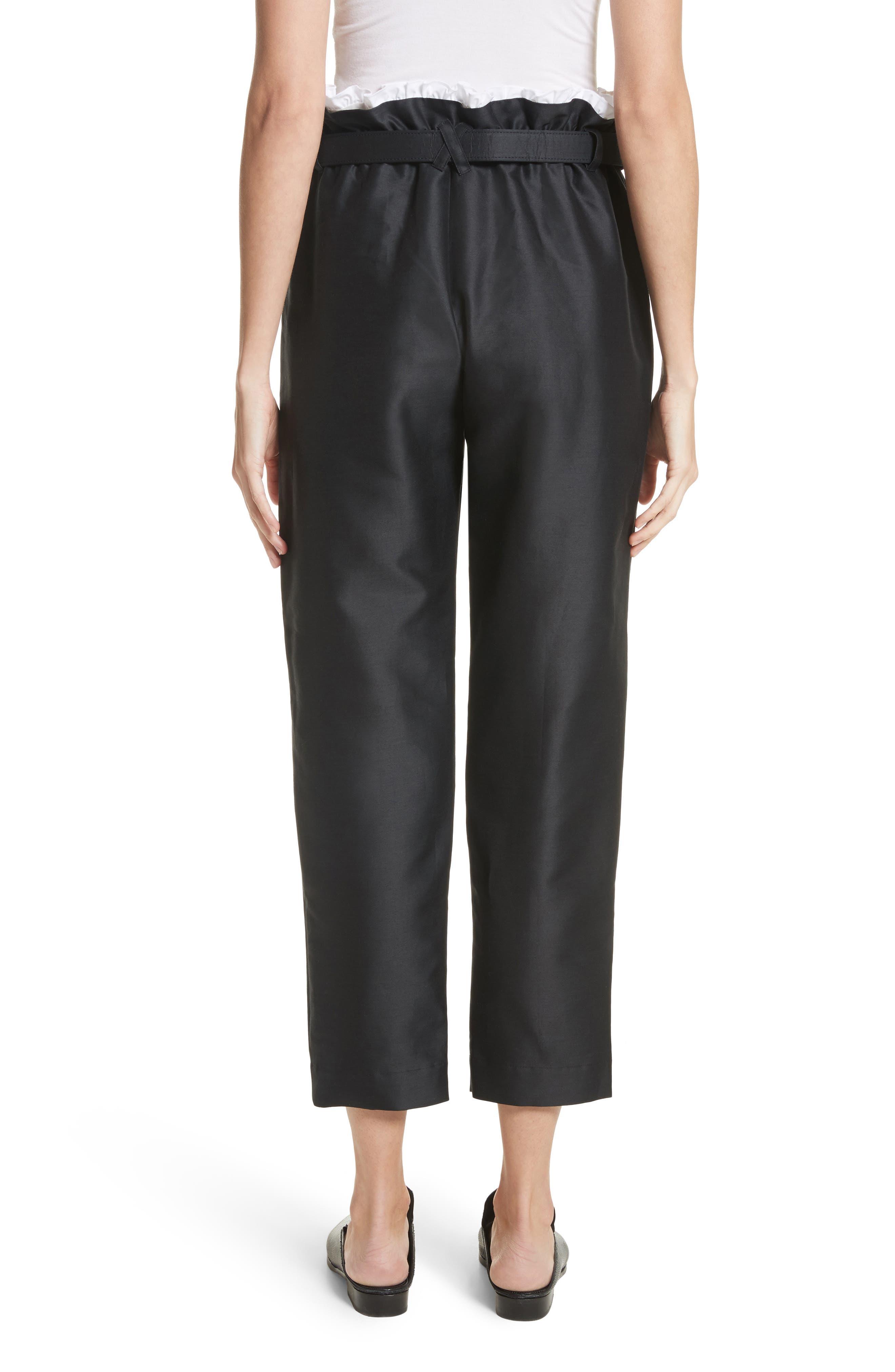 Paperbag Cotton & Silk Trousers,                             Alternate thumbnail 2, color,                             Black