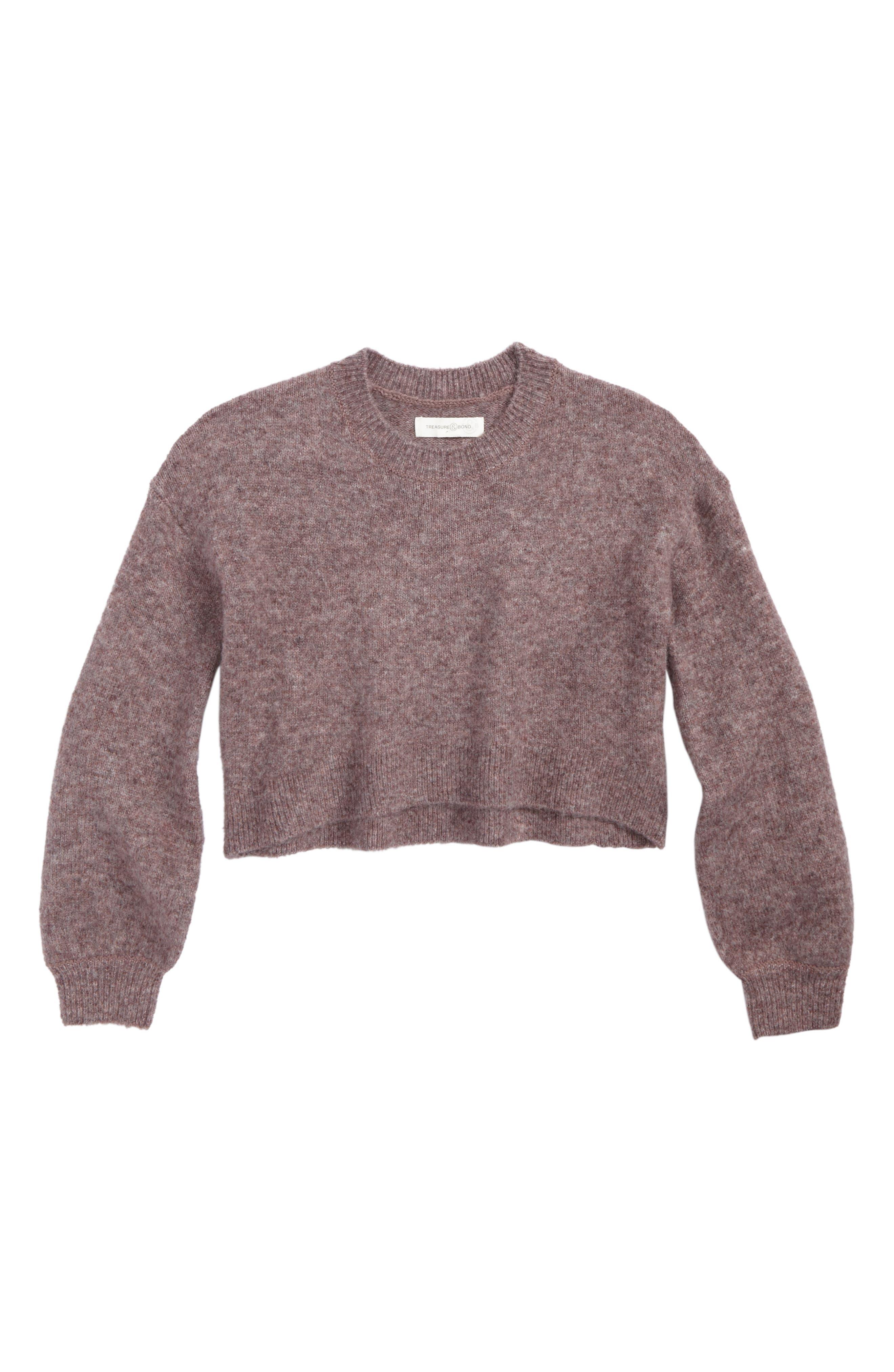 Alternate Image 1 Selected - Treasure & Bond Crop Bubble Sleeve Sweater (Big Girls)