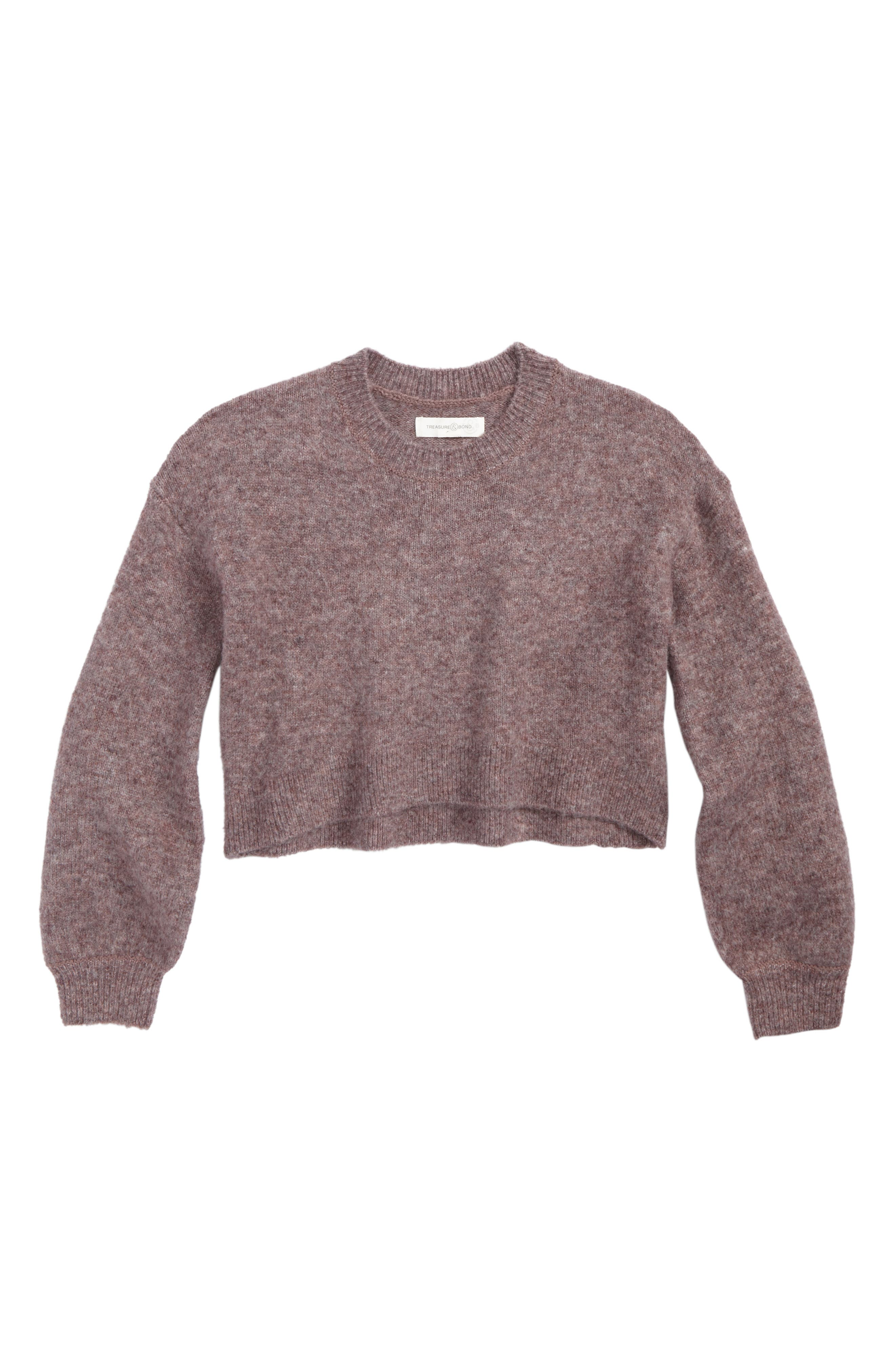 Crop Bubble Sleeve Sweater,                         Main,                         color, Pink Heather
